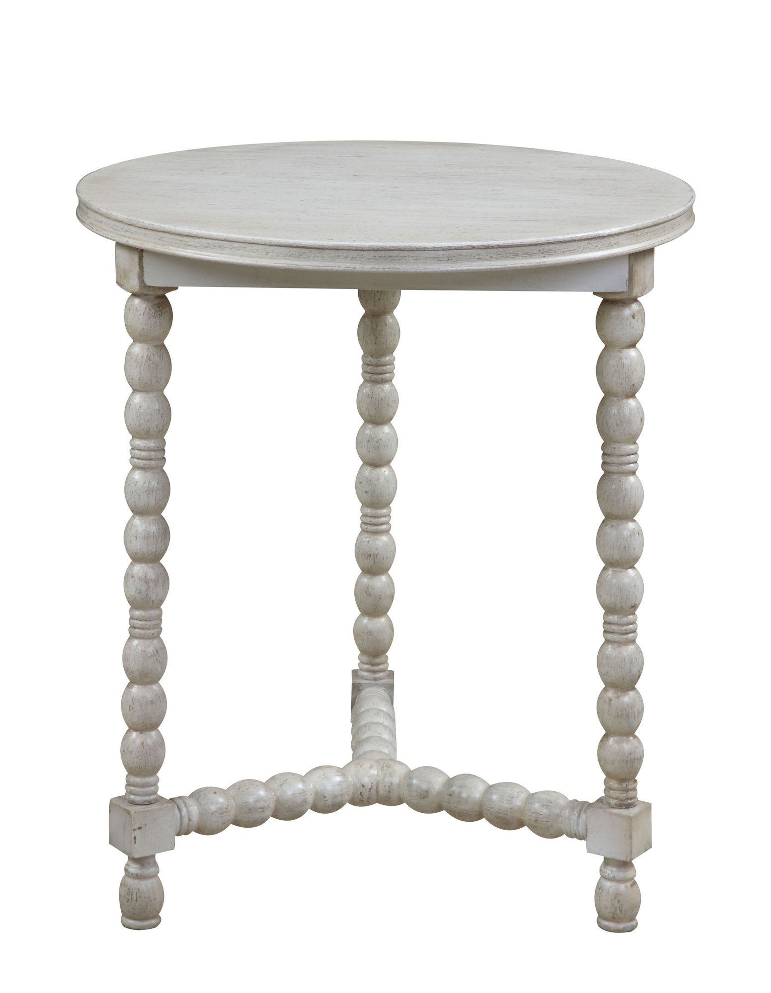 gail accents gray cottage end table tripod base spindle wood accent with legs round shape distressed barn white finish collection manufacturer kirkland furniture target coffee