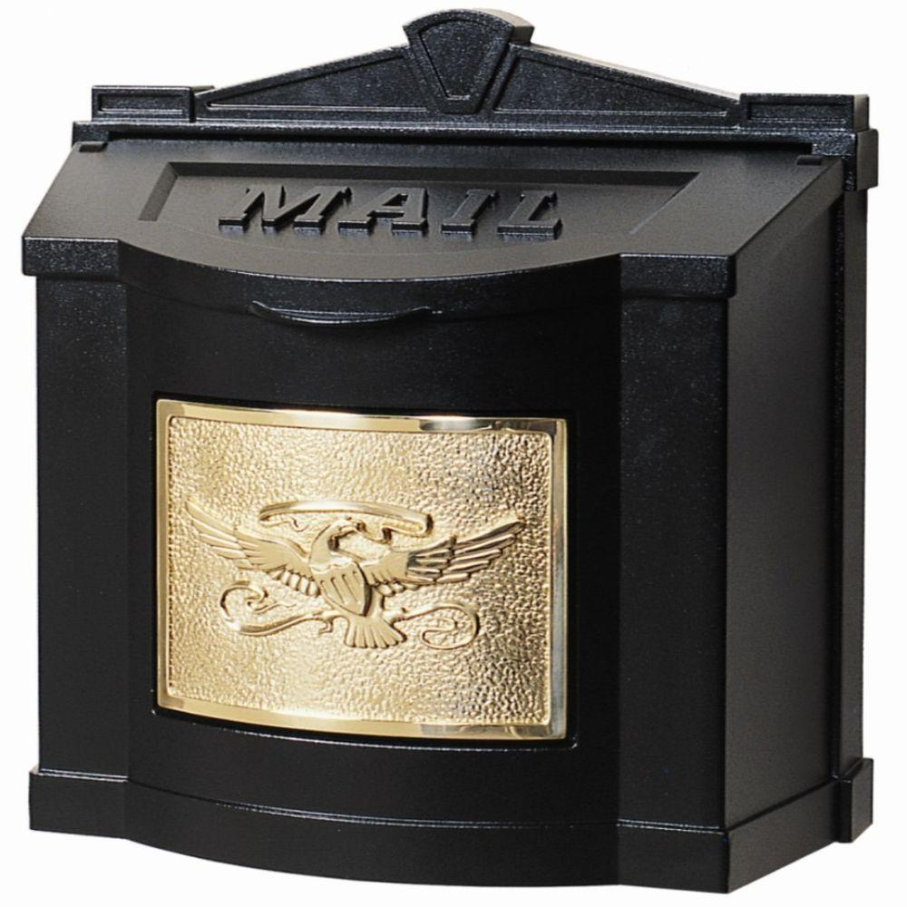 gaines manufacturing eagle accent wall mount mailbox black with blacks mailboxes tablet polished brass retro wood furniture small ginger jar table lamps victorian style side navy