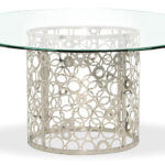 galileo inch clear glass dining table zuri furniture modern round stainless steel base threshold accent mouse over zoom click view larger giant patio umbrella drum coffee white 150x150