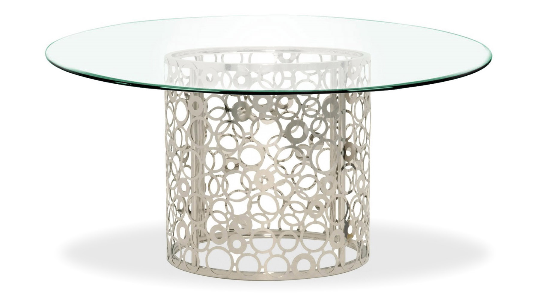 galileo inch clear glass dining table zuri furniture modern round stainless steel base threshold accent mouse over zoom click view larger giant patio umbrella drum coffee white