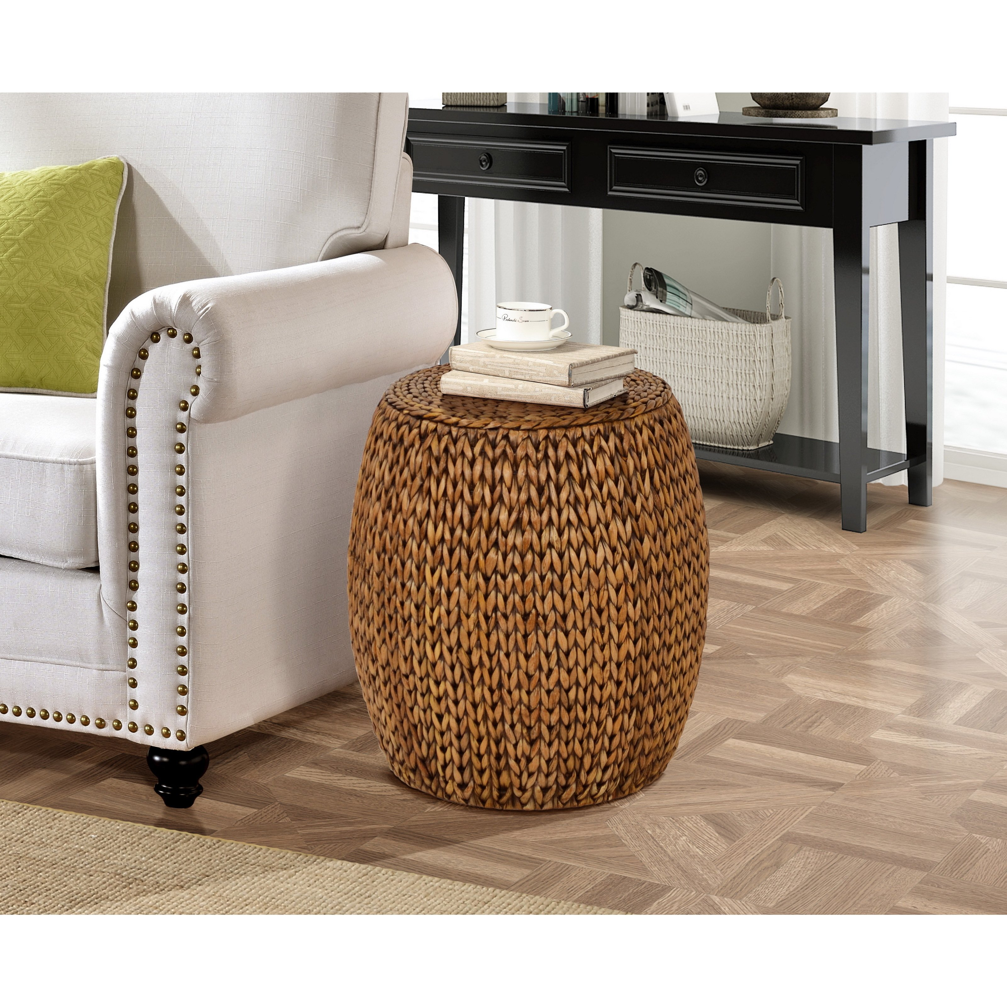 gallerie decor tall drum accent table free shipping today wood folding snack reclaimed kitchen mirrored desk target cloth decoration pier one candles outdoor iron side round