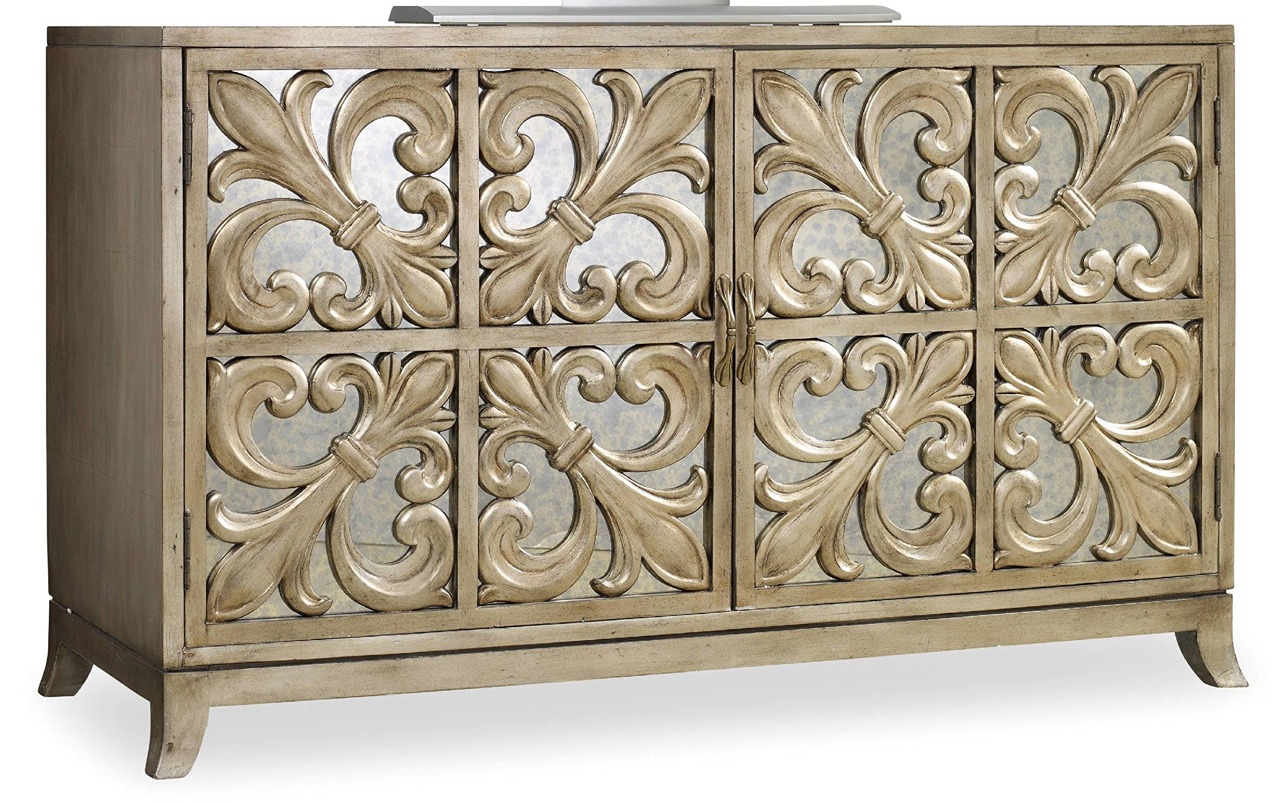 gallerie mirrored furniture find accent table get quotations hooker melange fleur lis credenza metallic target gold side threshold floor lamp coffee with nest tables underneath