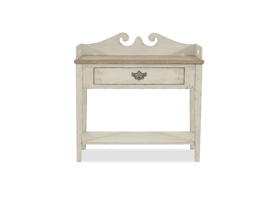 gallery rail traditional accent table weathered grey mathis pul room essentials spacious drawer and broad display shelf offer ample for your decor supported tapered legs this