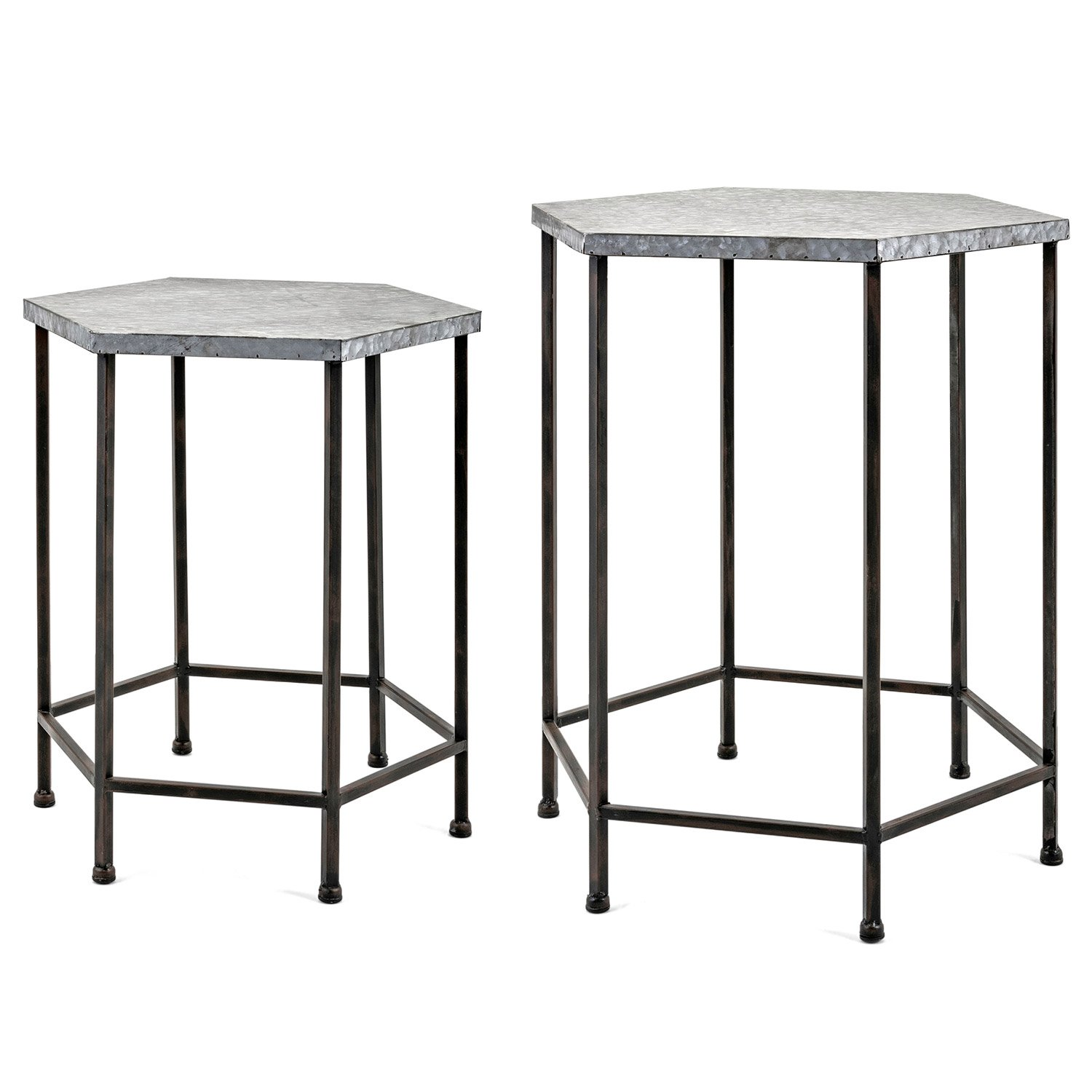 galvanized accent table set paynes gray metal narrow shelf behind couch mirrored round antique black coffee iron patio chairs green end cast aluminum modern outdoor nic hobby