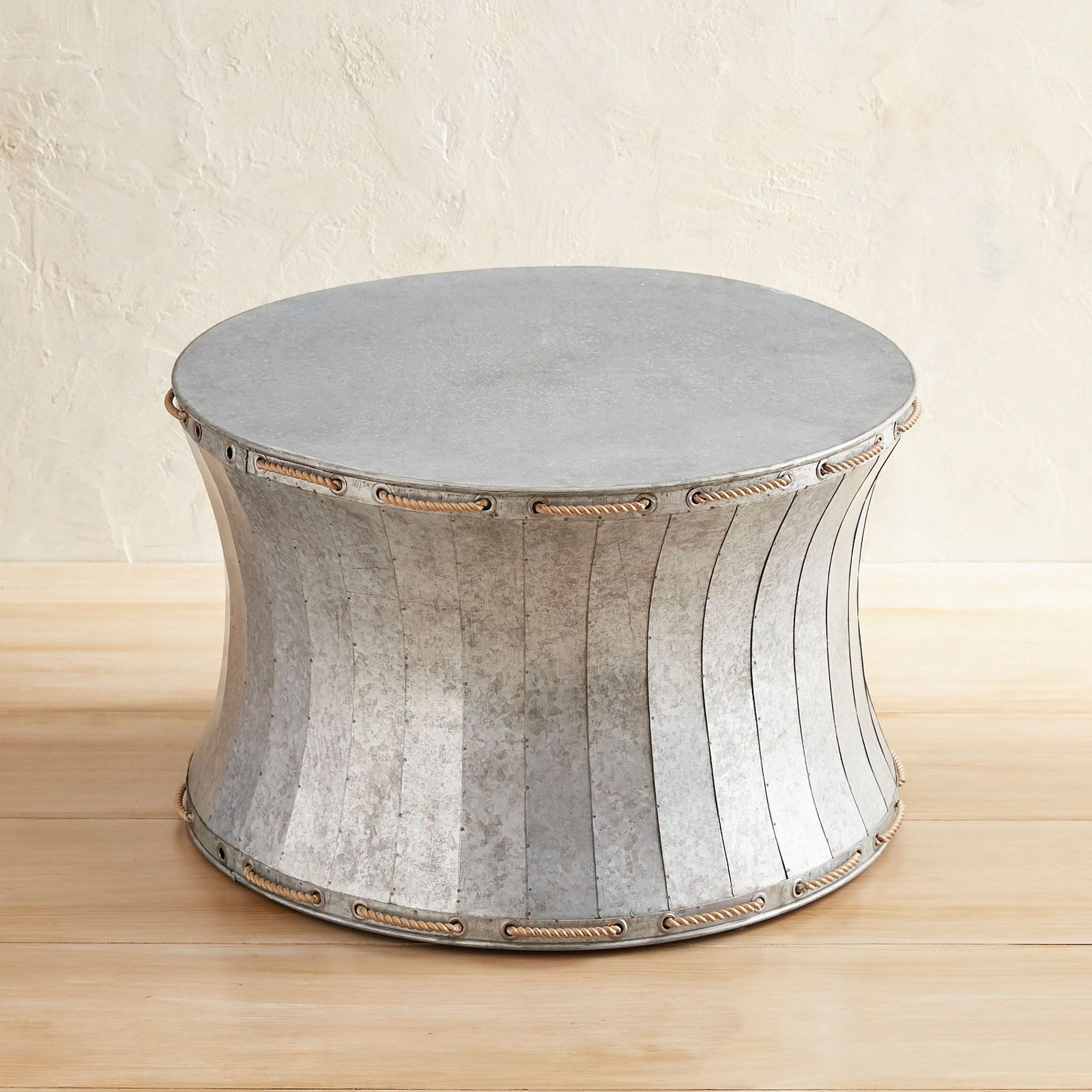 galvanized drum coffee table patio outdoor metal accent pier imports modern bar iron side garden set corner foyer round brass armchair abbyson furniture ikea room ideas west elm