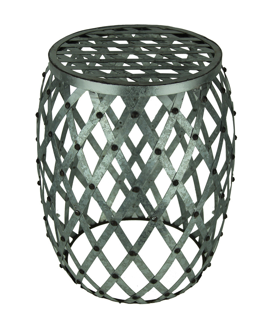 galvanized finish indoor outdoor metal accent drum table thc stool rustic furniture diy industrial coffee small armchair kitchen for jcpenney bedroom rattan chairs build side