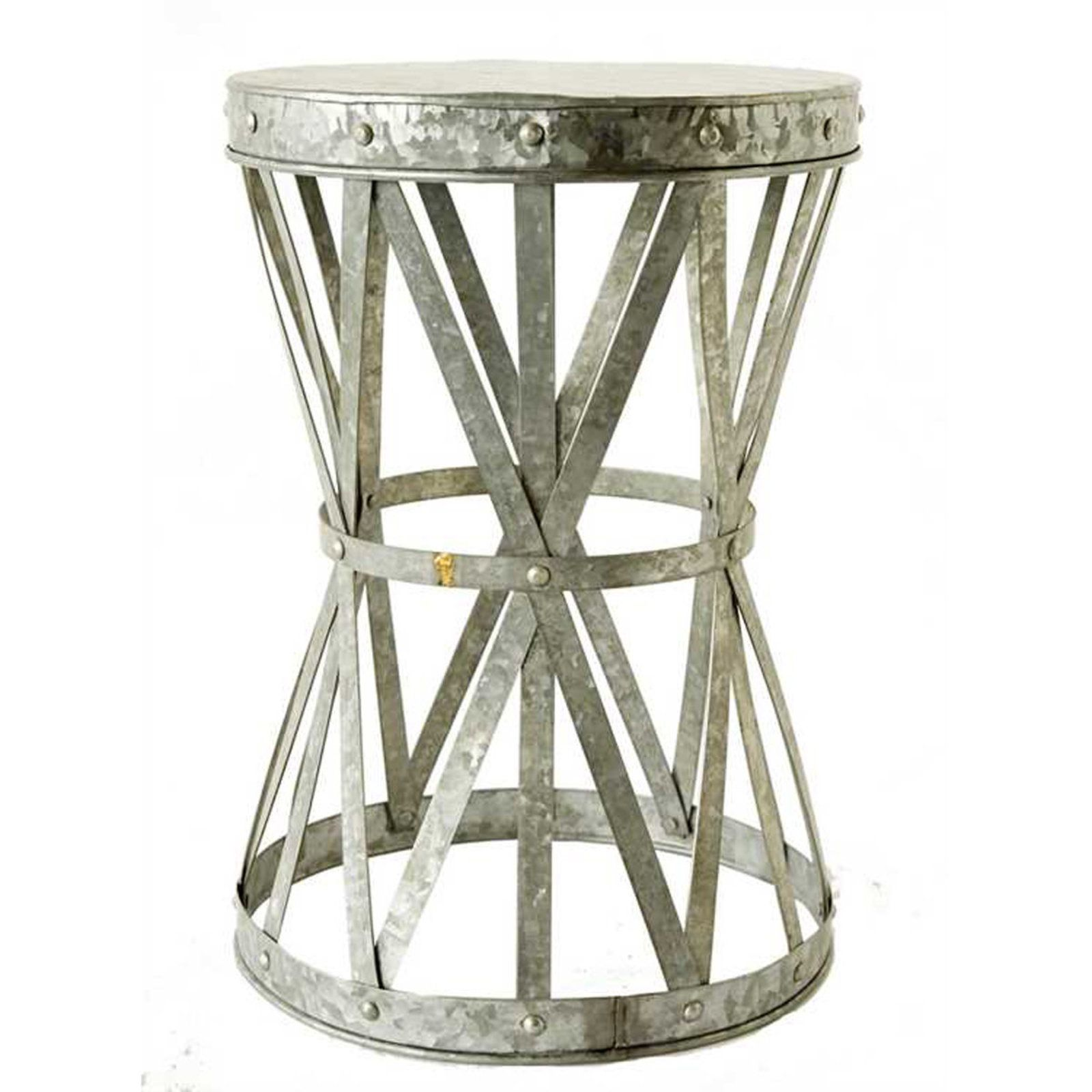 galvanized metal side table stool catalog crush accent decor rustic antique coffee top designs pendant ceiling lights target round bulk linens kohls slipcovers west elm sconce