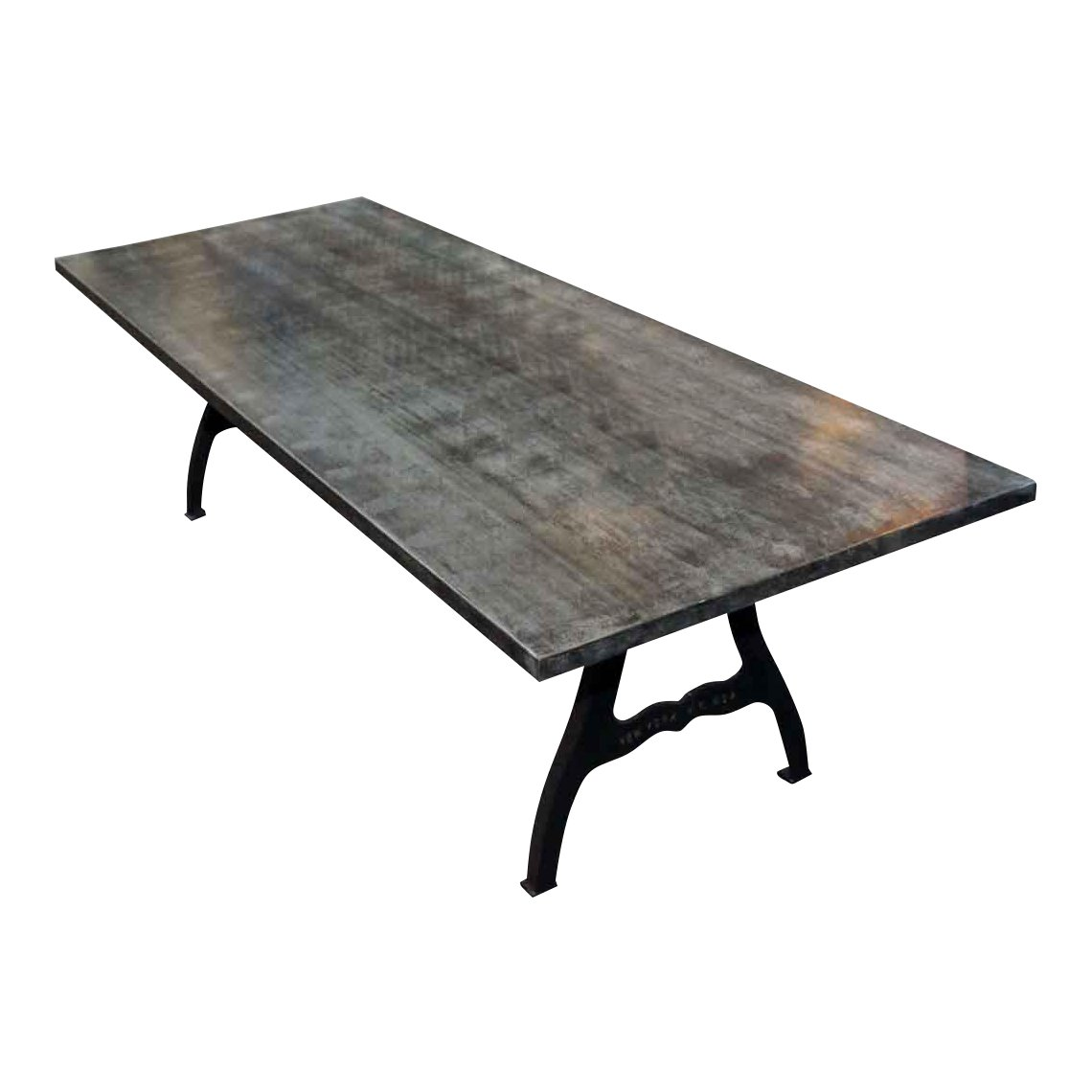 galvanized steel table with industrial legs chairish metal accent dining room placemats mirrored bedside furniture external door threshold demilune console pottery barn pine