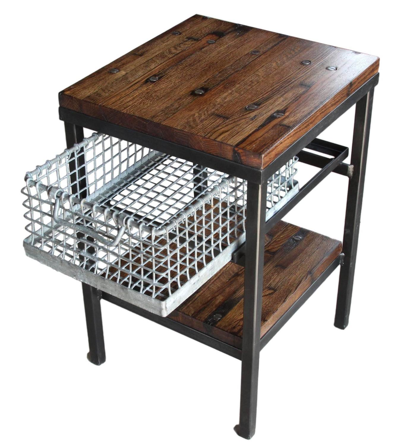 galvanized storage basket nightstand end table with shelf antique metal accent baskets dining room placemats beach umbrella tables pedestal side kitchen and stools pottery barn