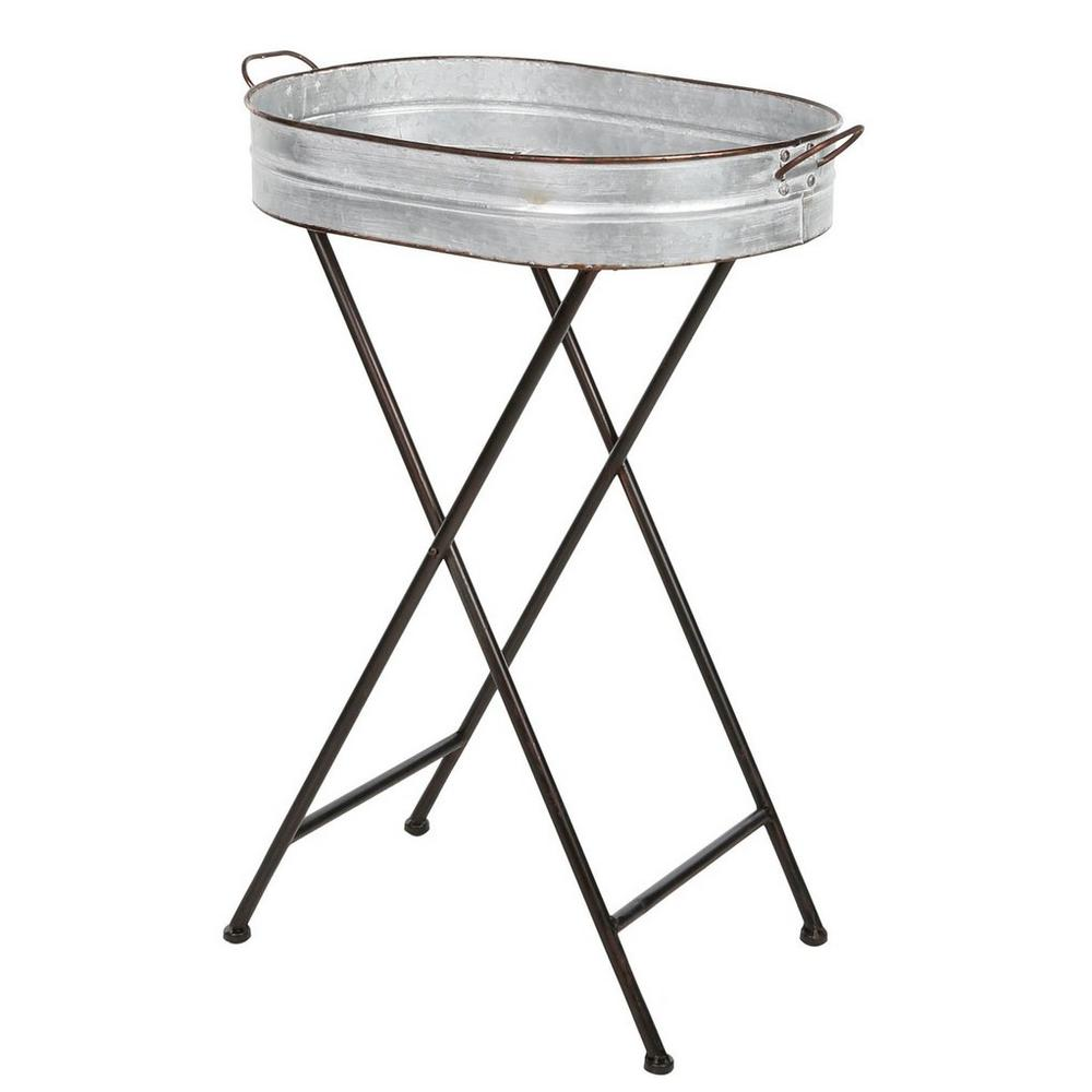 galvanized tray accent table grey burkes yyy metal marble piece set antique pedestal side black beach umbrella concrete look outdoor furniture coffee modern legs carpet transition