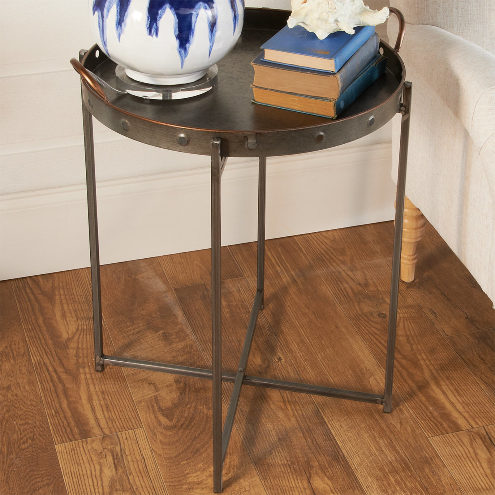 galvanized tray top accent table shades light bronze antique side styles low console cabinet black marble set area rugs lime green coffee battery powered led lights reclaimed wood