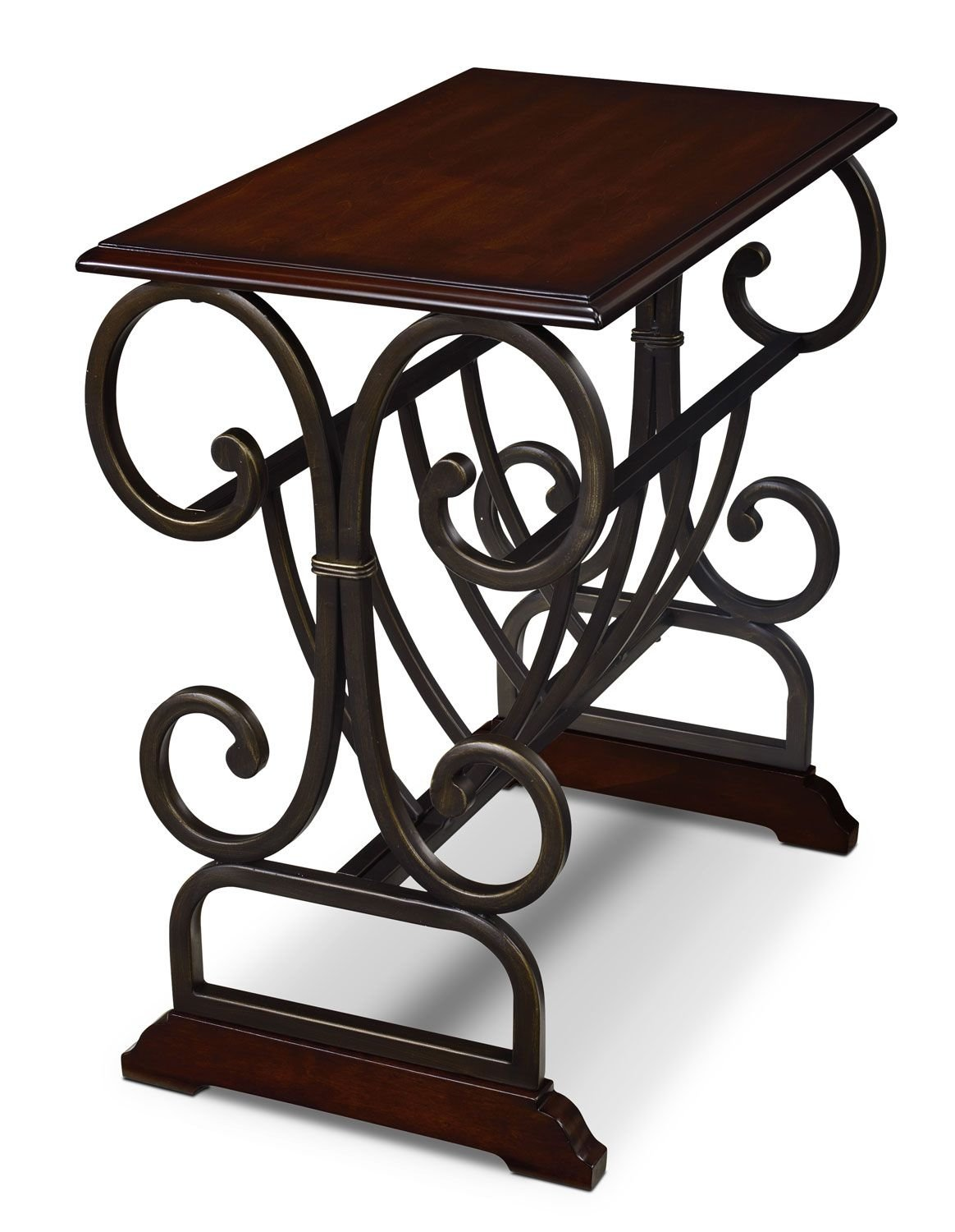 gander accent table with magazine rack brown cherry the brick tables edmonton cherrytable appoint avec armature metal brun cerisier verizon tablet small half moon blue porcelain