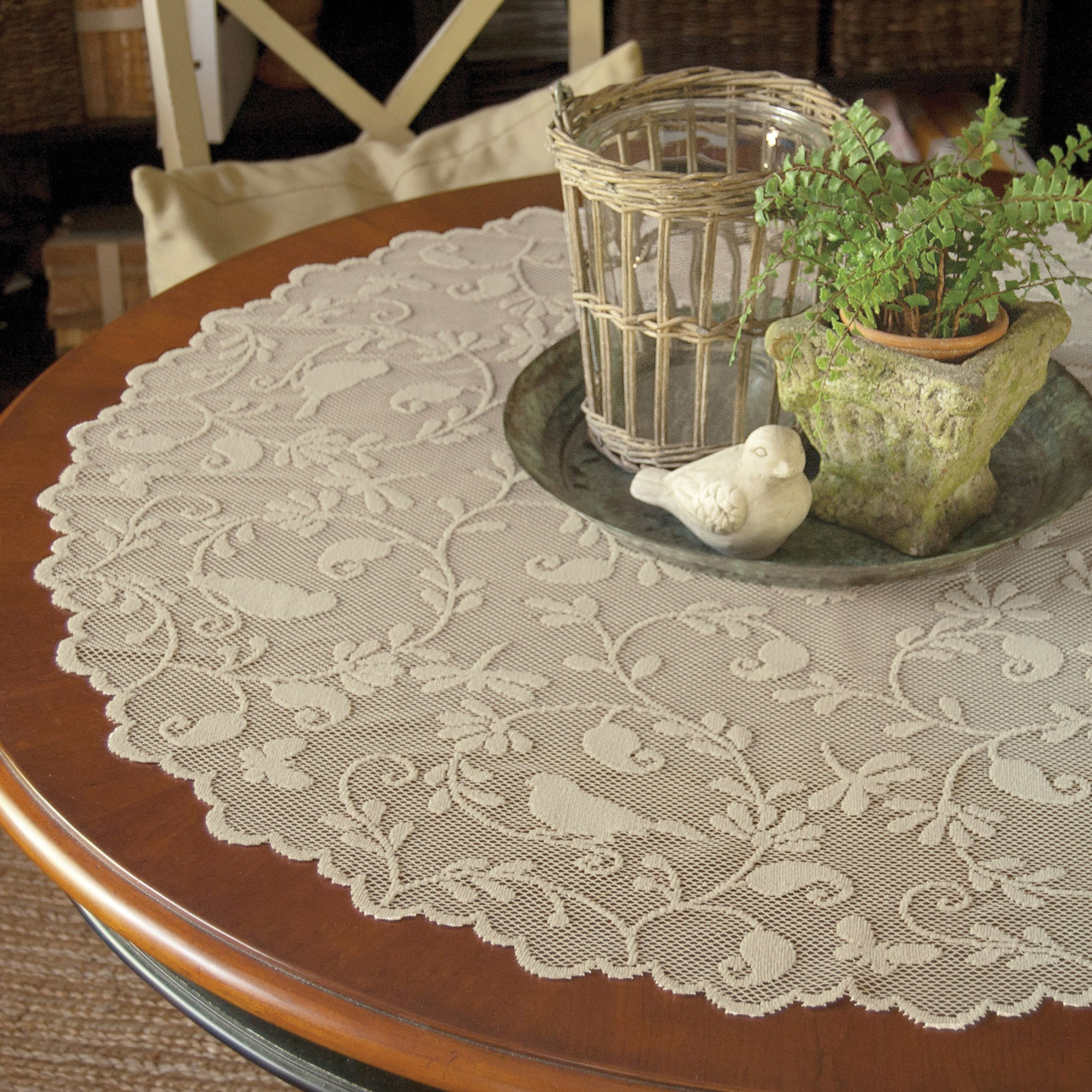garden birds lace tabletop accents sheer doily style decorative table topper lifestyle accent placemat and chairs giant patio umbrella corner entryway furniture ethan allen