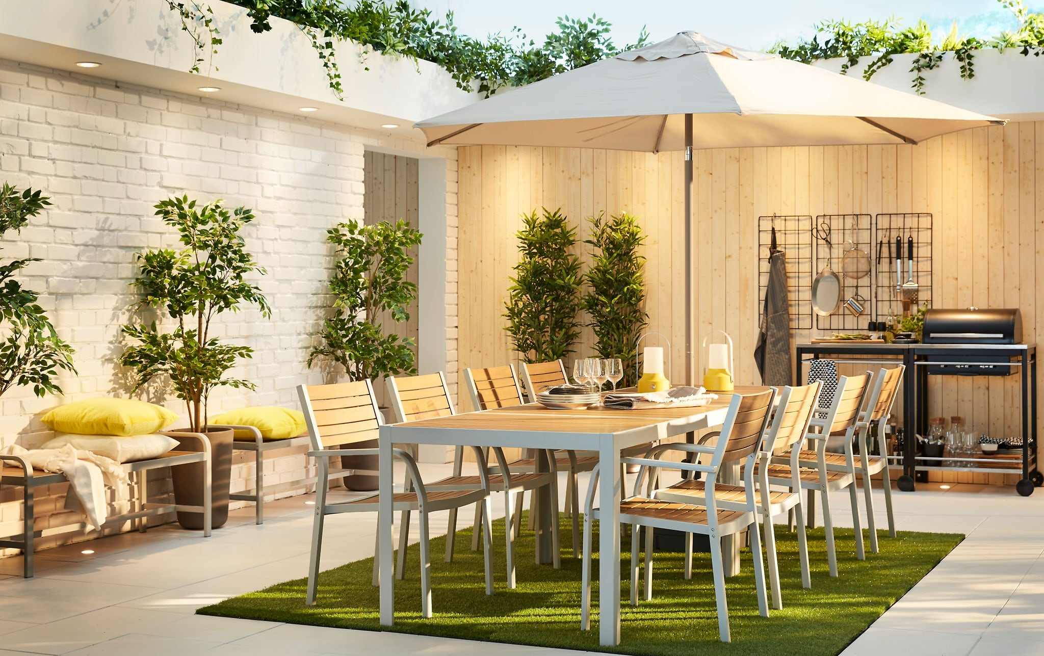 garden furniture outdoor ideas ikea grey light brown sjalland table chairs outdoors accent large modern dining setting with two sets tables and lamps pottery barn wood iron coffee