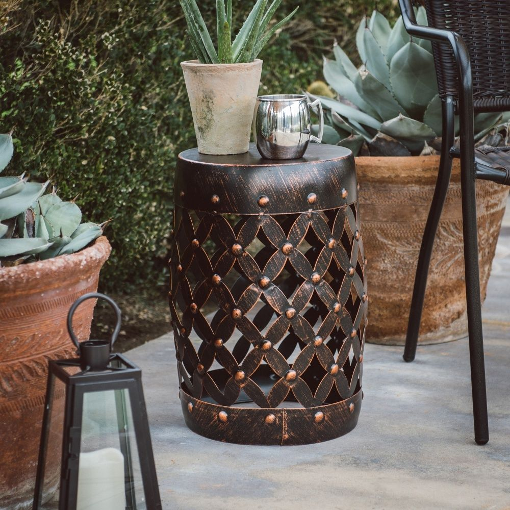 garden stool plant stand outdoor seat home decor patio accent side table metal coralcoast black white rug interior decoration ideas ashley furniture lift top coffee rustic end