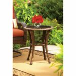 garden table brown round glass top outdoor rust resistant frame foldable wicker accent hand woven betterhomes low side trestle retro modern chairs vintage gold coffee unique 150x150