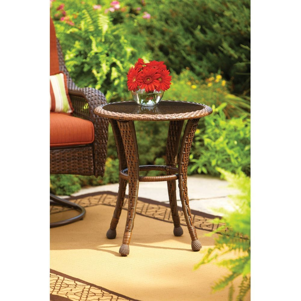 garden table brown round glass top outdoor rust resistant frame foldable wicker accent hand woven betterhomes low side trestle retro modern chairs vintage gold coffee unique
