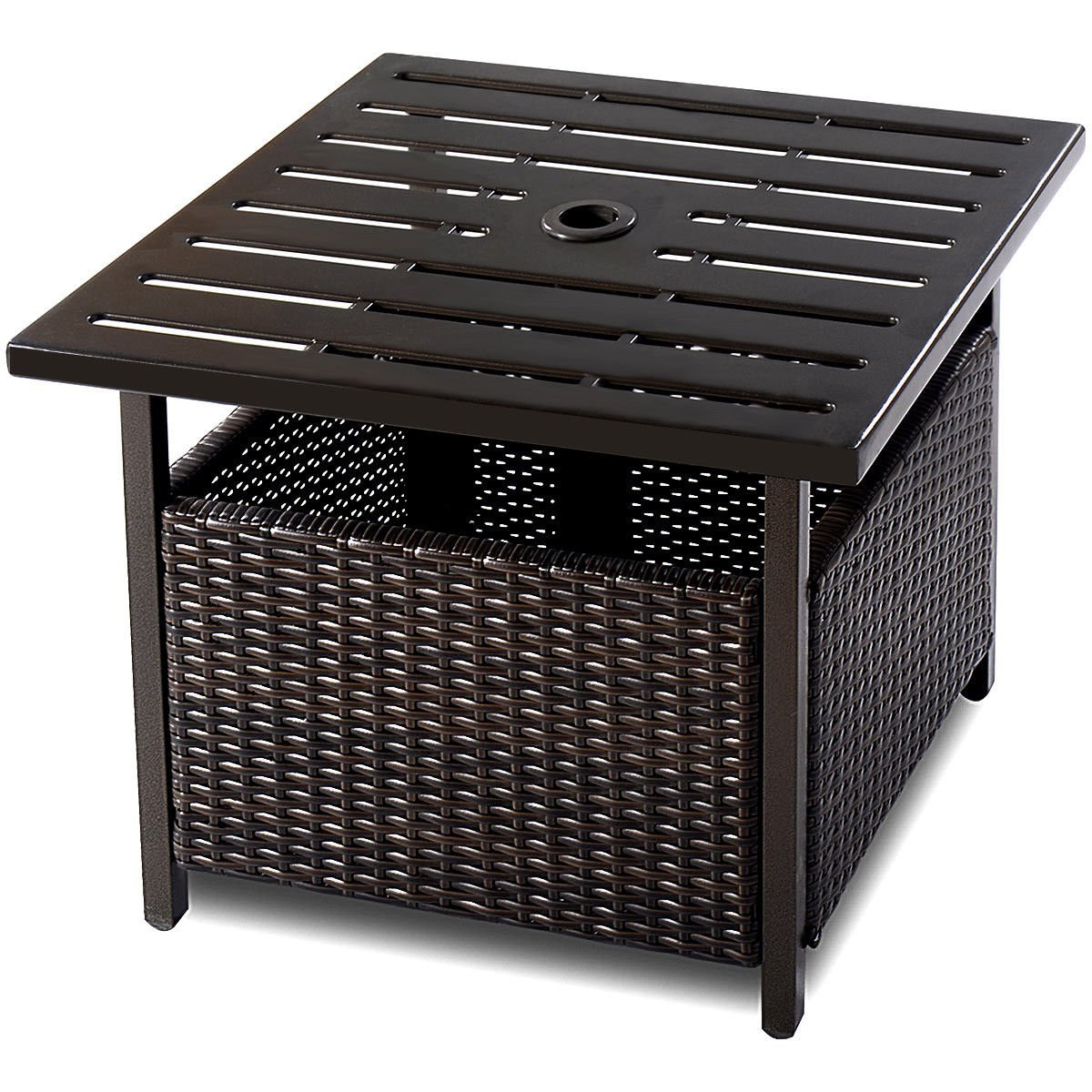 garden table rattan find line outdoor wicker side brown get quotations energy square furniture deck patio pool steel top slim console with drawers large round dining front porch