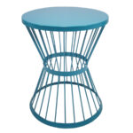 garden treasures blue powder coated outdoor round steel plant side table stand coffee dimensions rattan drum piece dining set best throne safavieh brogen accent fur furniture 150x150