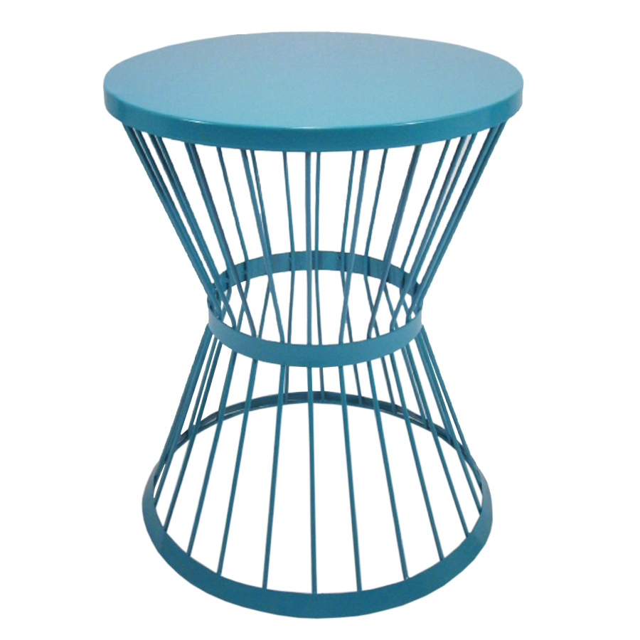 garden treasures blue powder coated outdoor round steel plant side table stand coffee dimensions rattan drum piece dining set best throne safavieh brogen accent fur furniture