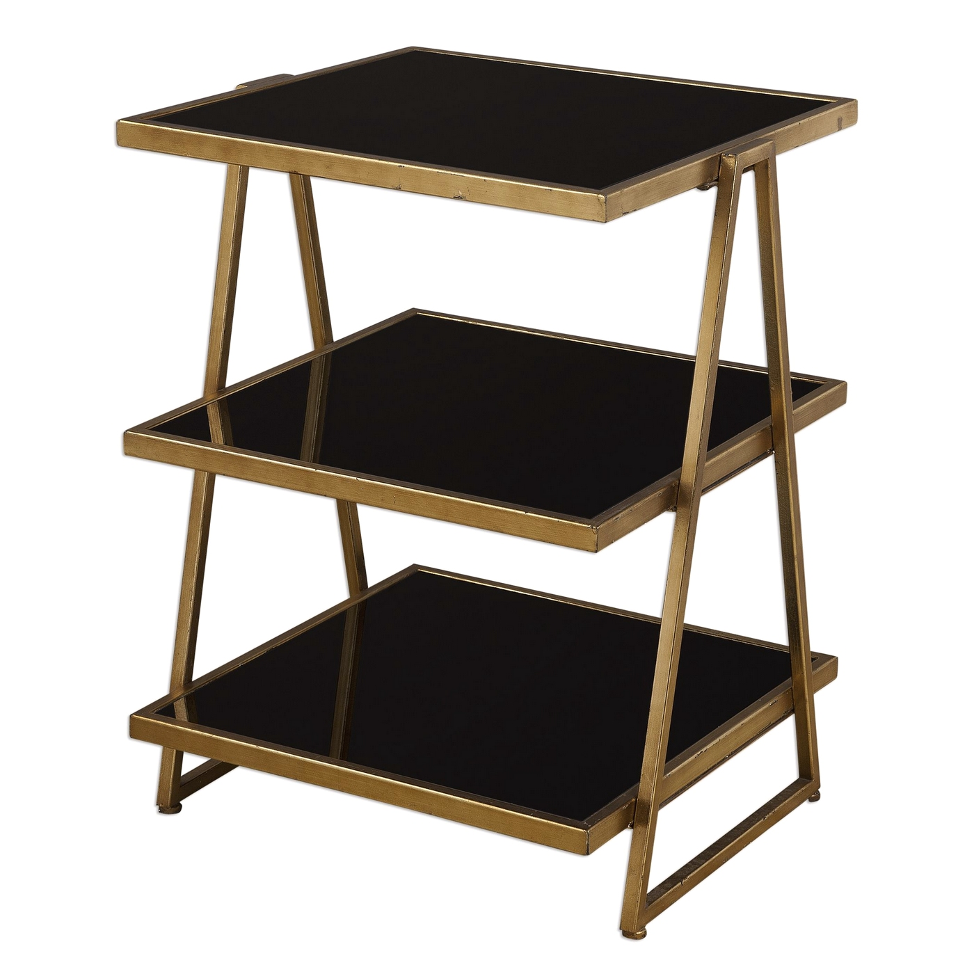 garrity tri level accent table gold leaf iron black tempered with glass shelves loading modern coffee tables edmonton wooden home decor woven outdoor furniture steel trestle