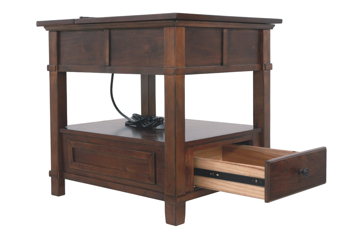 gately end table with storage power ashley furniture open angle small rectangular accent gray nightstand handcrafted tables rustic teak patio charging station white outdoor raw