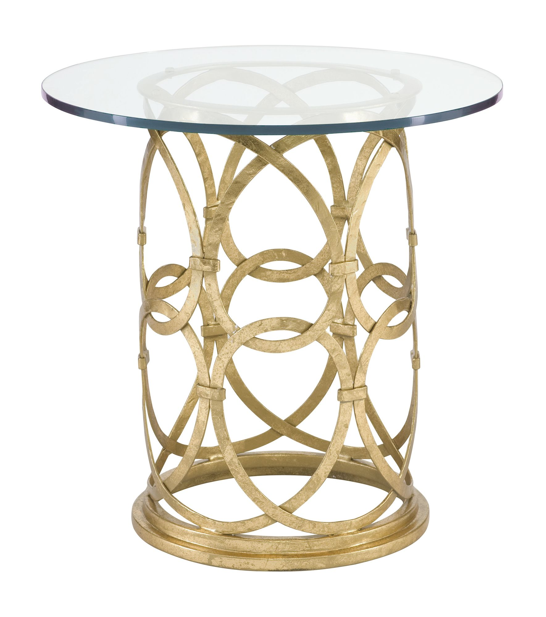 geneva round side table bernhardt dia gold hammered accent glass top base reclaimed barn wood furniture edmonton kitchen island trolley ethan allen drop leaf coffee make your own