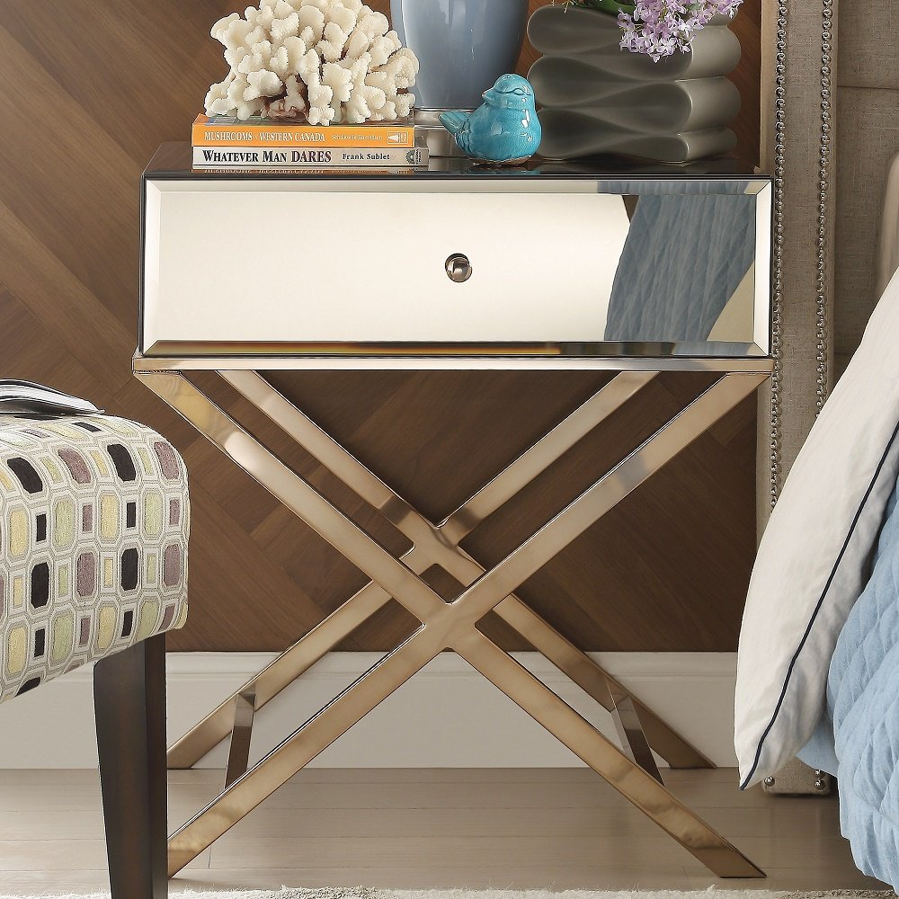 genoa camille base mirrored accent campaign table end with mirror champagne gold plated kitchen dining dale tiffany lamp white bedside tables kmart blow mattress target drop leaf