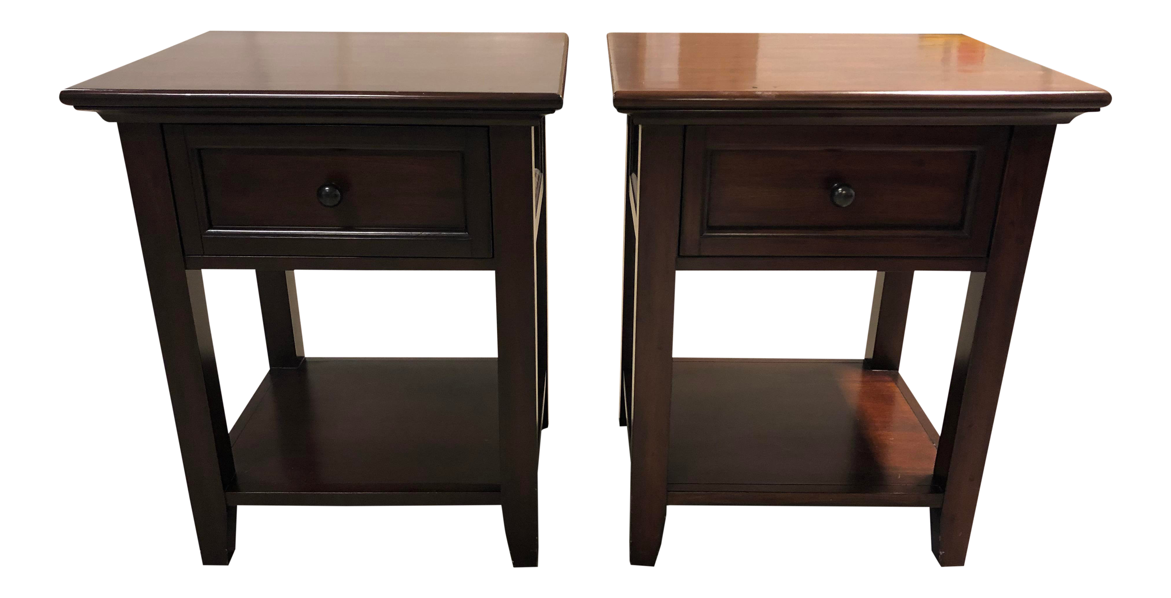 gently used pottery barn furniture off chairish hudson drawer nightstands pair rustic pedestal accent table round metal legs rope coffee drop leaf with chairs best bedside purple
