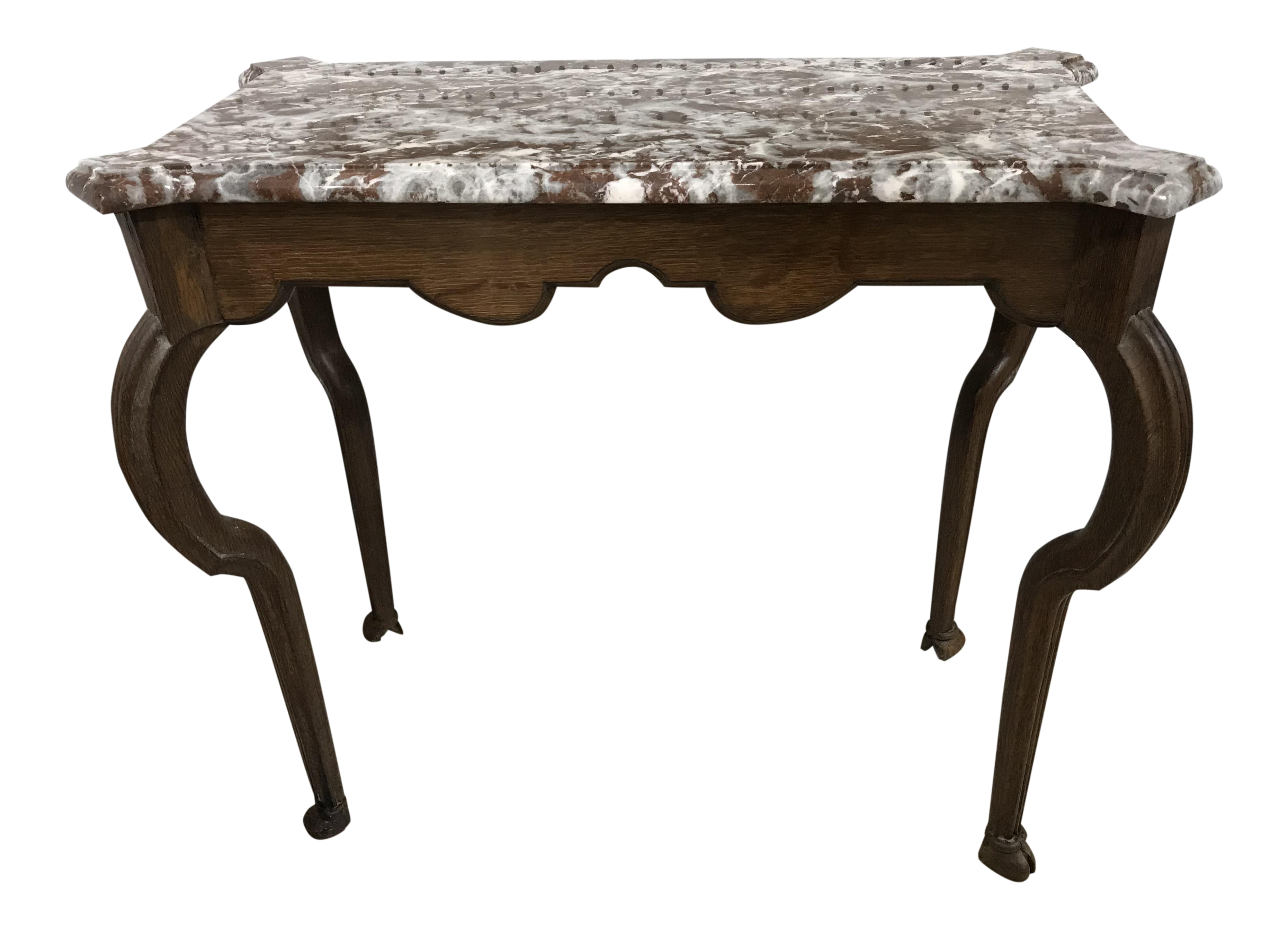 gently used vintage queen anne furniture for chairish portuguese oak marble top console table victorian style accent pottery barn black end dale tiffany butterfly lamp tall