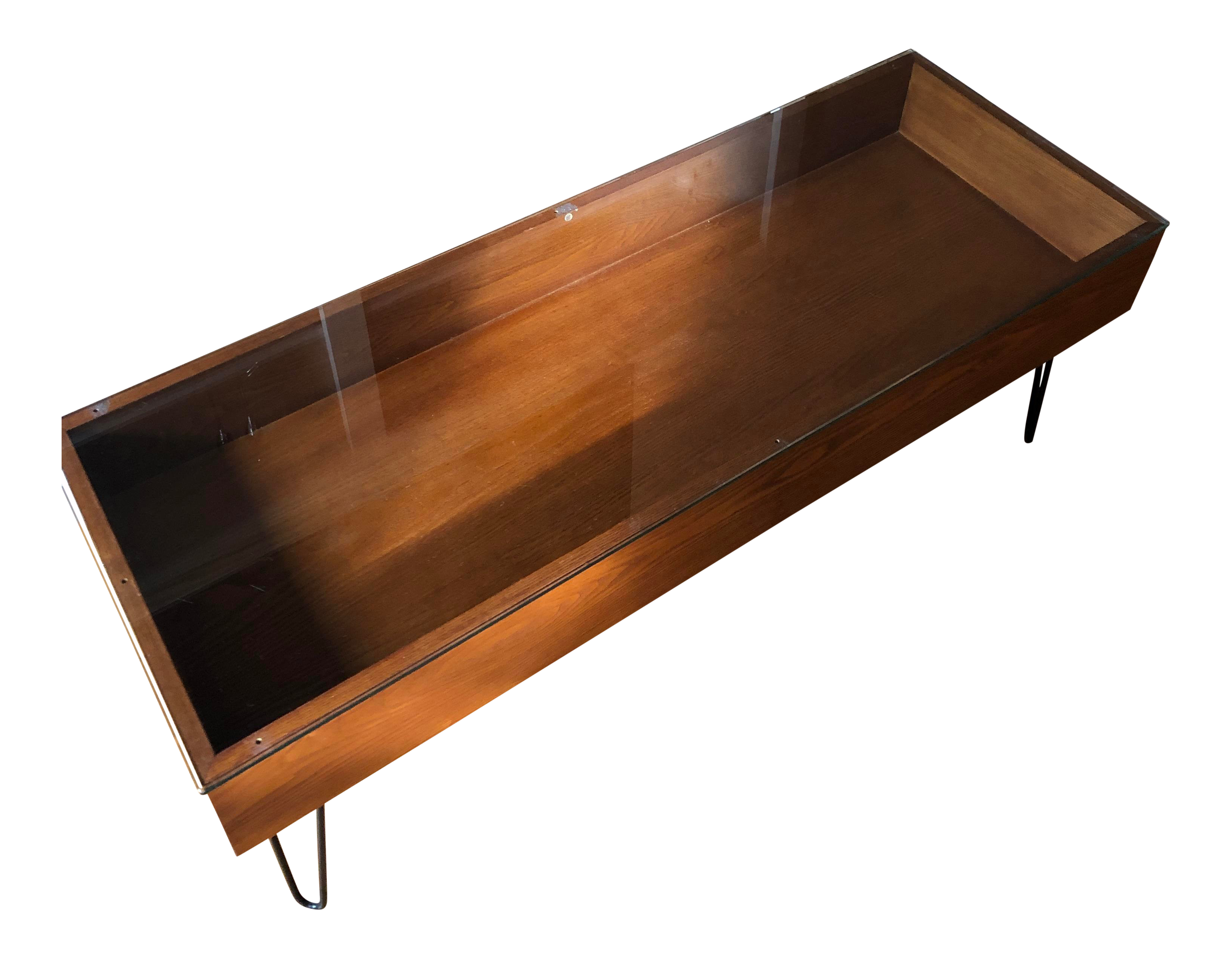gently used west elm furniture off chairish mid century modern glass top display coffee table pottery barn frog drum accent brass finish large lucite small industrial kitchen