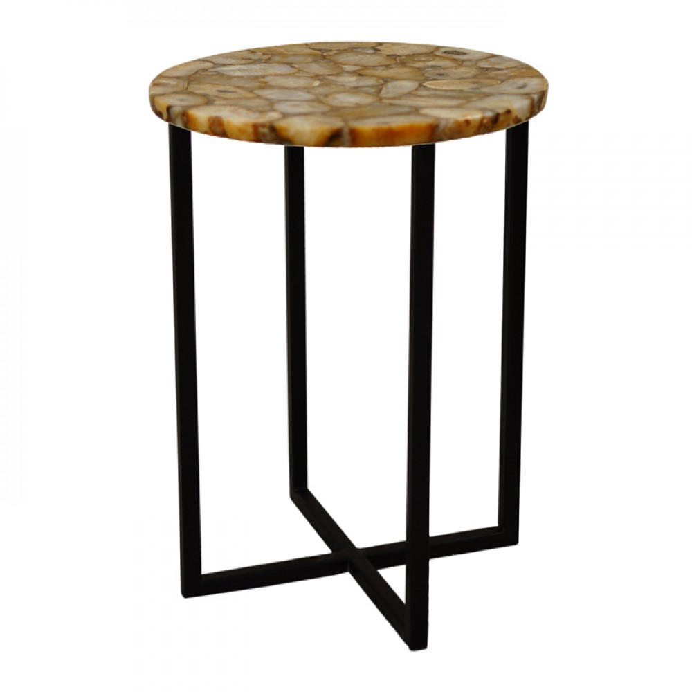 genuine brown agate accent table semi precious stone round coffee with top iron legs plexiglass foldable trestle very narrow console tray target ashley bedroom furniture nesting