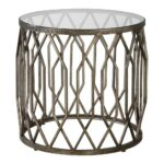 geometric drum shaped accent table with glass top scenario home portable coffee kitchen lamps mirrored side target black and gold decorations cotton tablecloths antique white 150x150