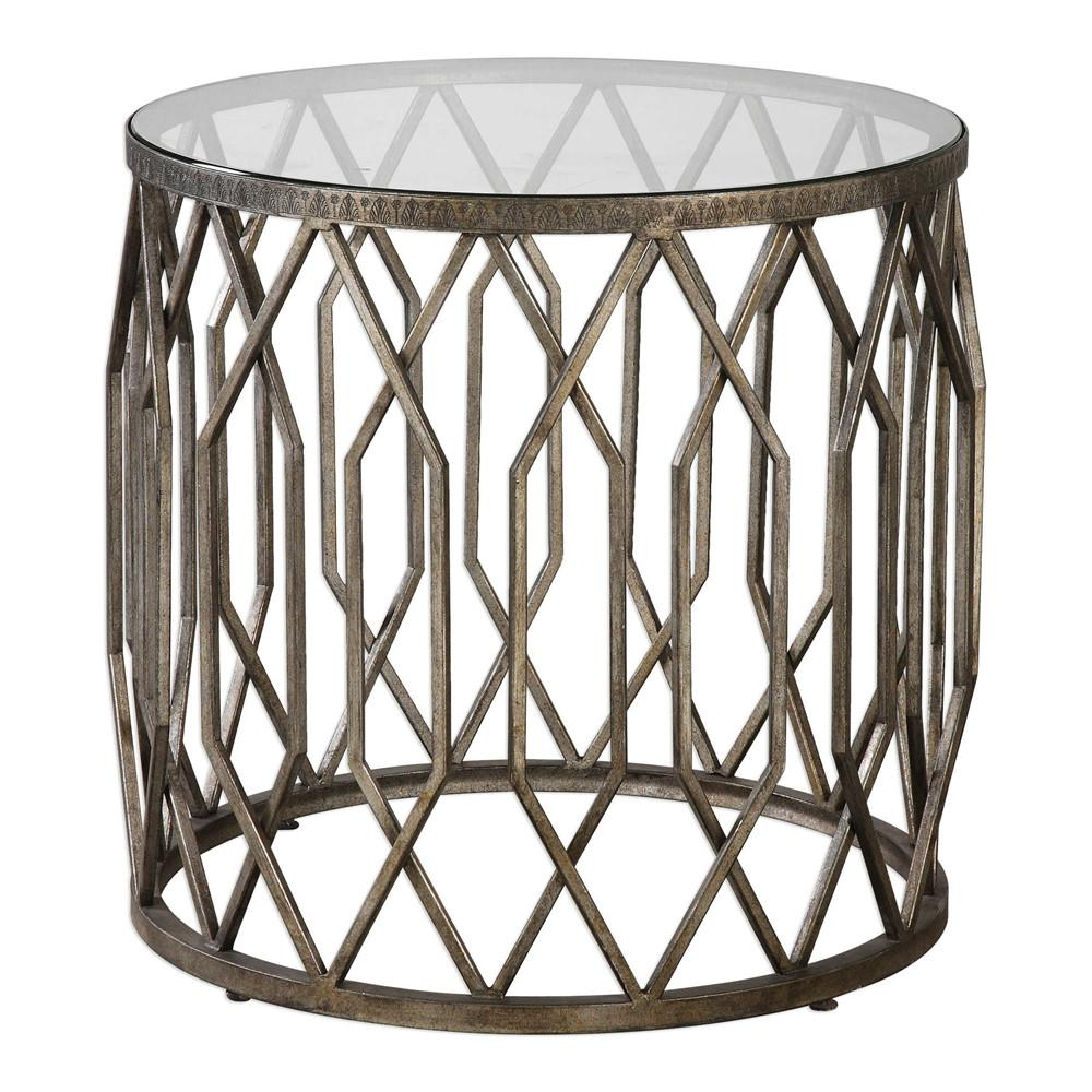 geometric drum shaped accent table with glass top scenario home portable coffee kitchen lamps mirrored side target black and gold decorations cotton tablecloths antique white