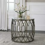 geometric drum shaped accent table with glass top scenario home round garden furniture mirrored side target cabinet door knobs yellow gold foyer decorative floor lamp nate berkus 150x150