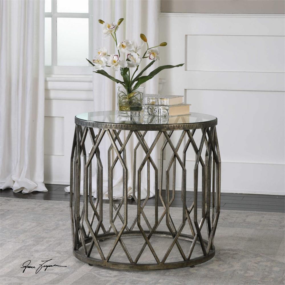 geometric drum shaped accent table with glass top scenario home round garden furniture mirrored side target cabinet door knobs yellow gold foyer decorative floor lamp nate berkus