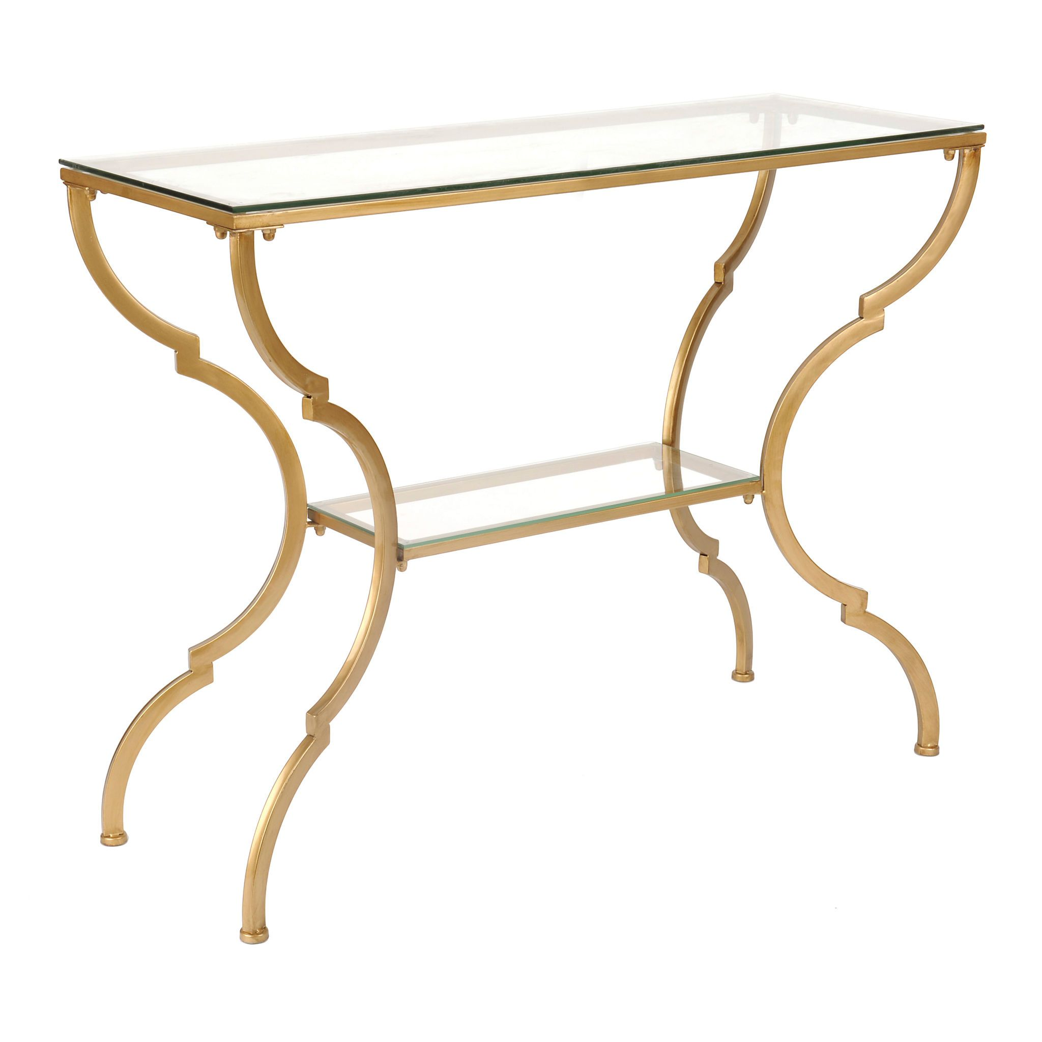 geometric gold glass console table house garden living kirklands accent tables white round and chairs outdoor bar cover allen furniture inexpensive nightstands trestle coffee