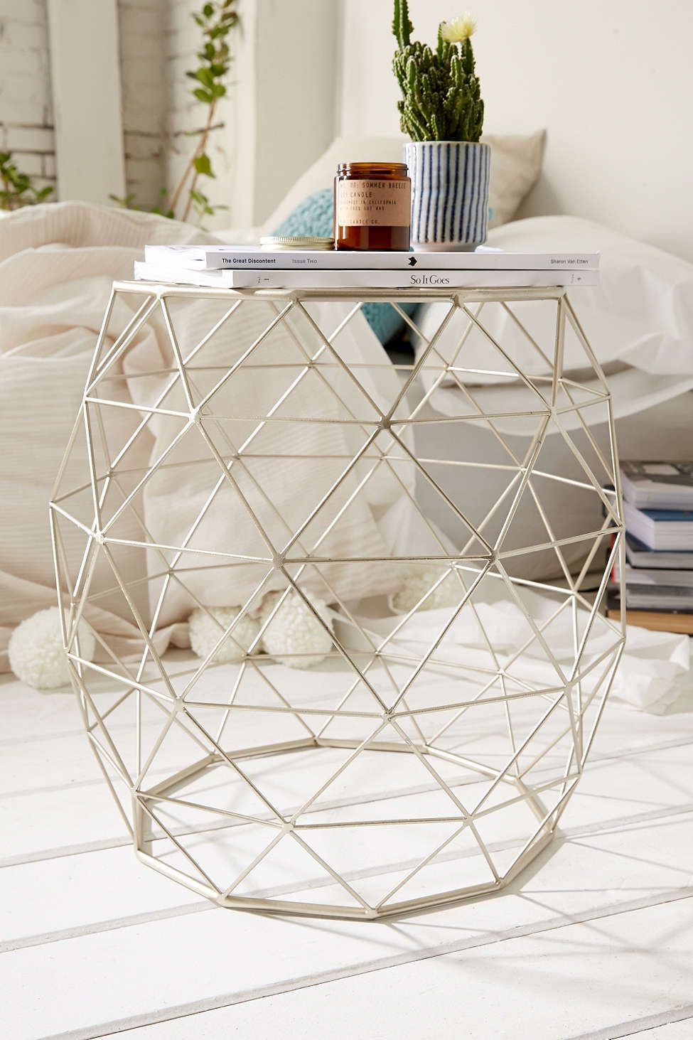 geometric metal side table nami gold accent home decor urban outfitters target pouf mosaic outdoor dining glass top coffee with brass legs old wall clock retro lamp counter height