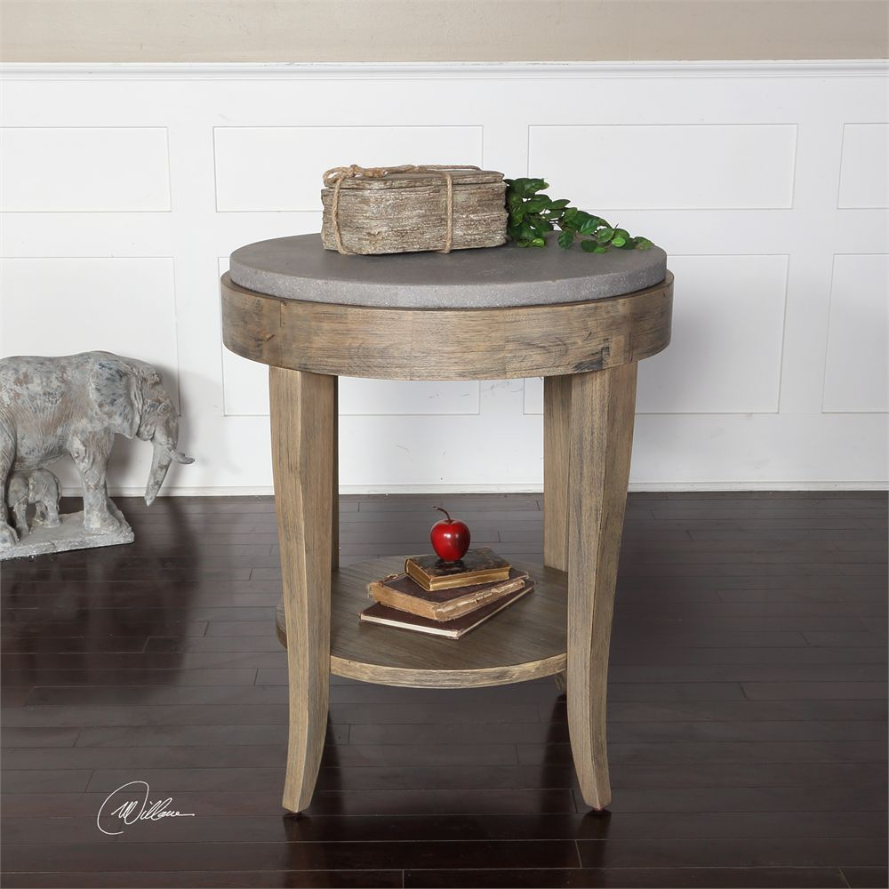 gettington uttermost deka round accent table gray jinan hover over zoom click for full small room furniture metal and marble side kitchen with storage high dining set nautical