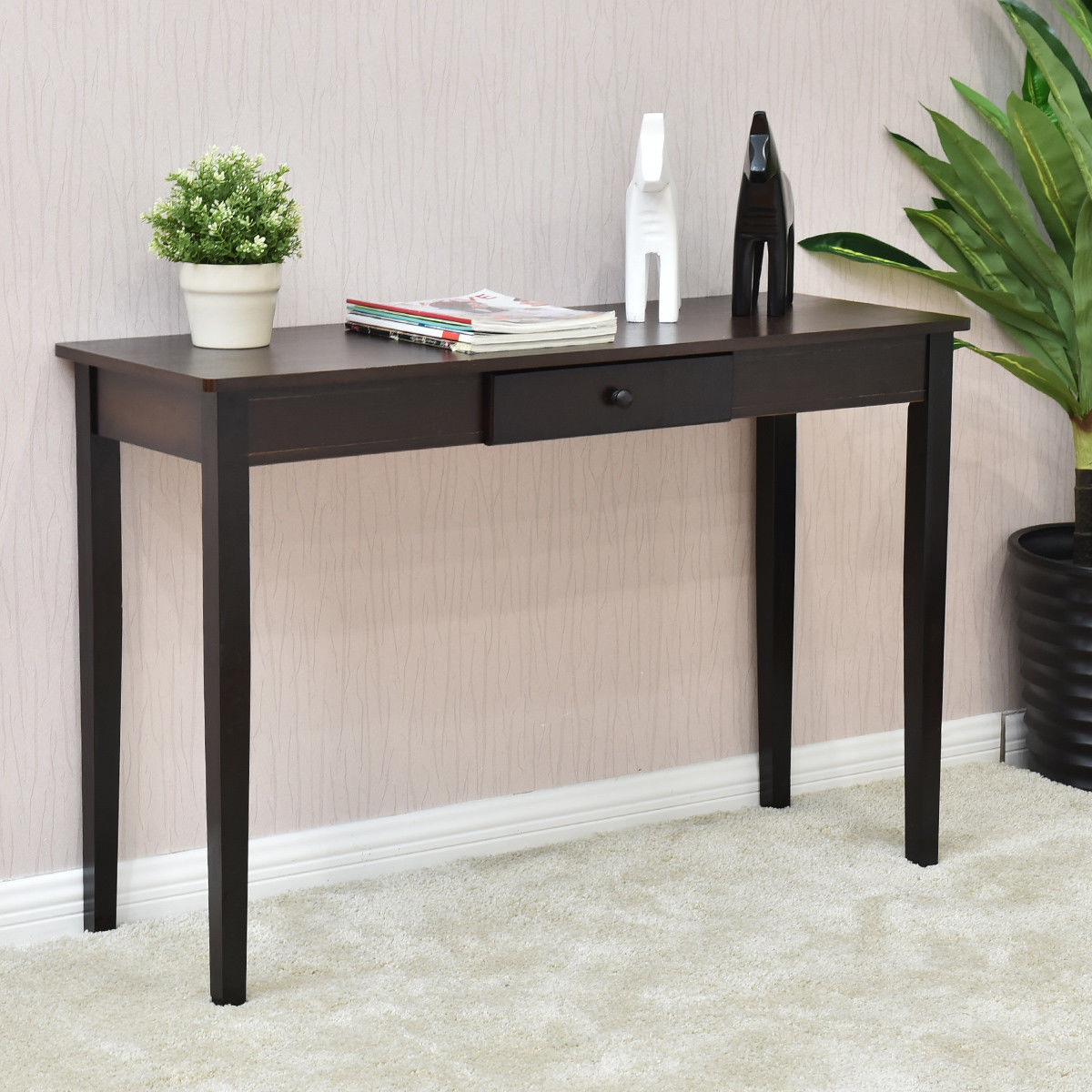 giantex console table entry hallway desk entryway side sofa accent with drawer modern wood living room furniture diy cocktail chest coffee and metal end paper tablecloths coby
