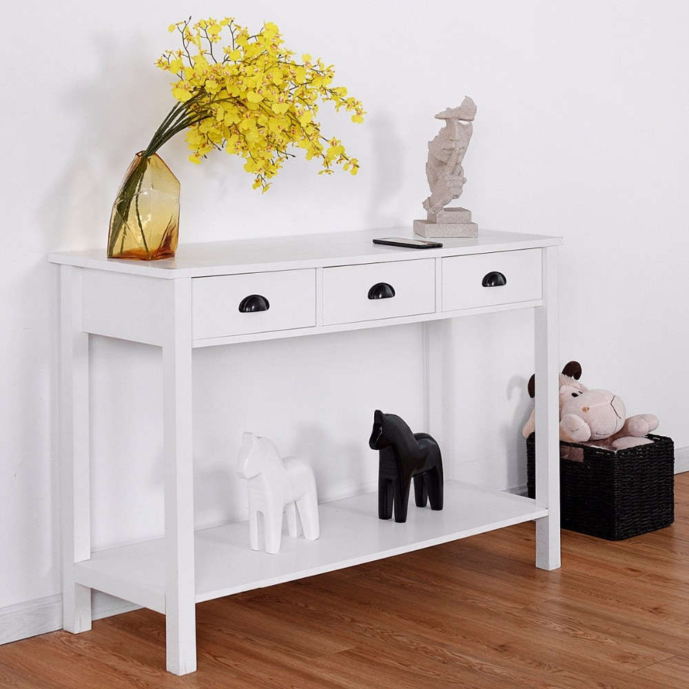 giantex console table hall side desk accent drawers shelf entryway white home furniture with tables from living room small bedroom house and decorating three drawer unique