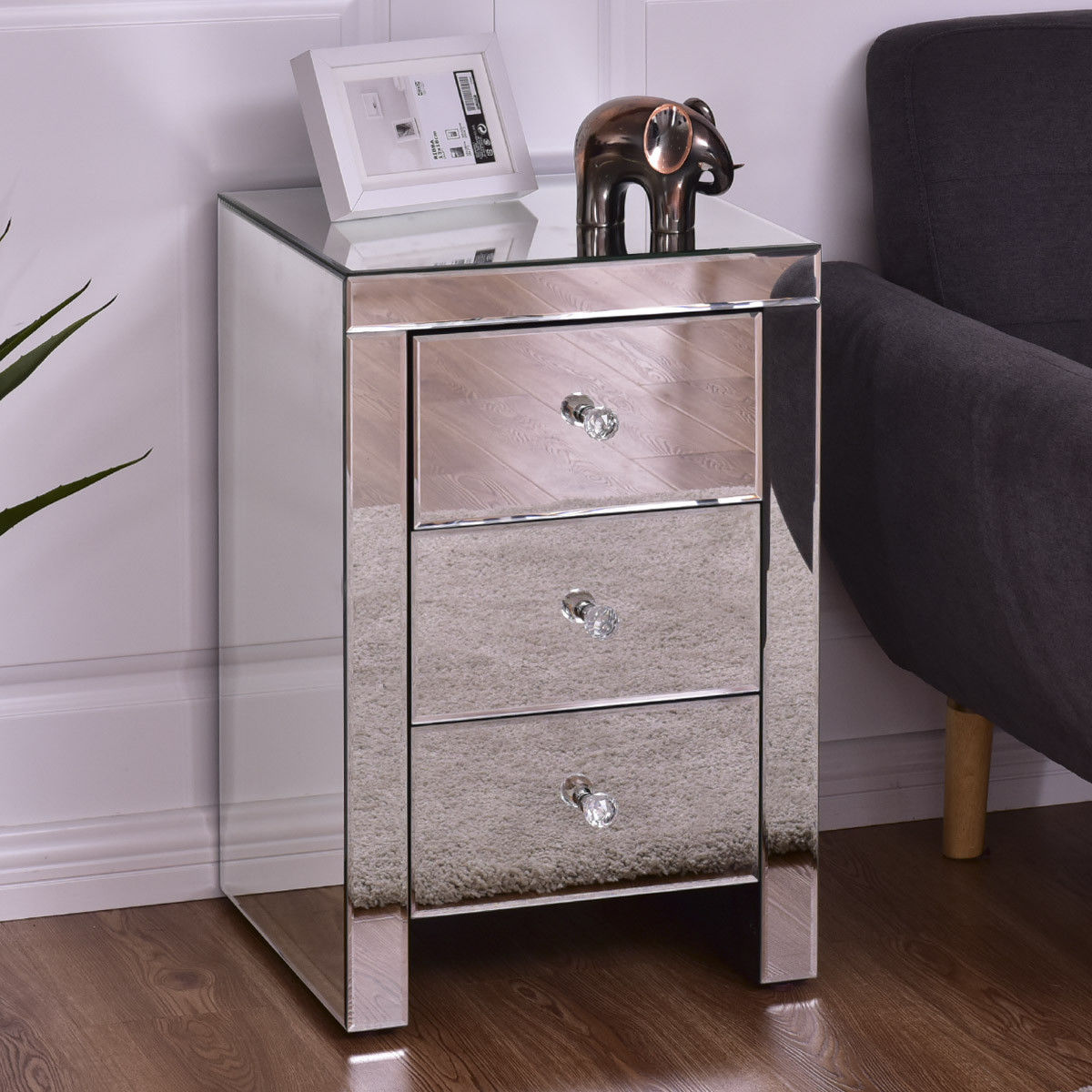 giantex drawer mirrored nightstand home accent table chest dresser modern storage silver glass bedroom furniture gray nightstands from trends white floating headboard room wall
