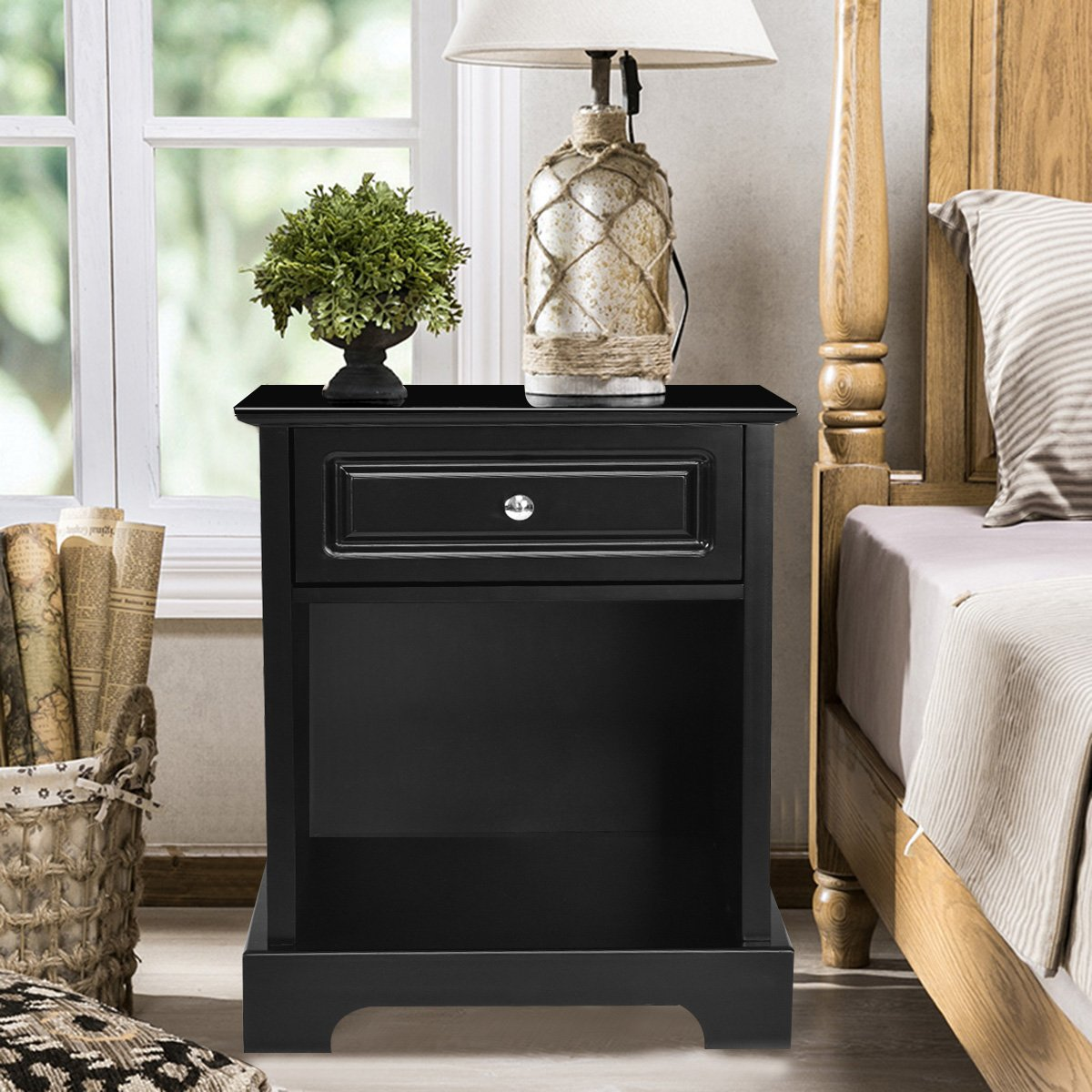 giantex end table drawer and open shelf for home winsome squamish accent with espresso finish living room furniture chest sofa side bedside storage nightstand black kitchen dining