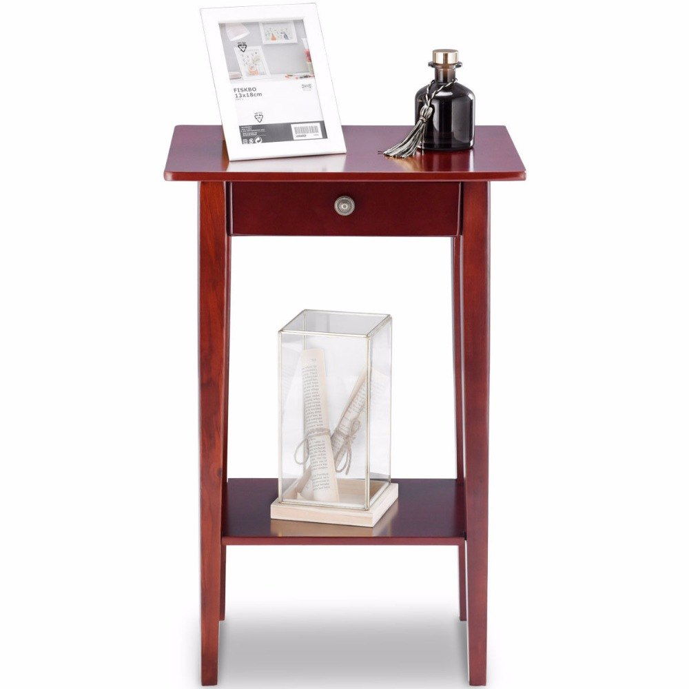 giantex end table tall wood side accent style telephone stand with shelf drawer living room furniture console tables from pier mirrored essentials hairpin metal pin legs