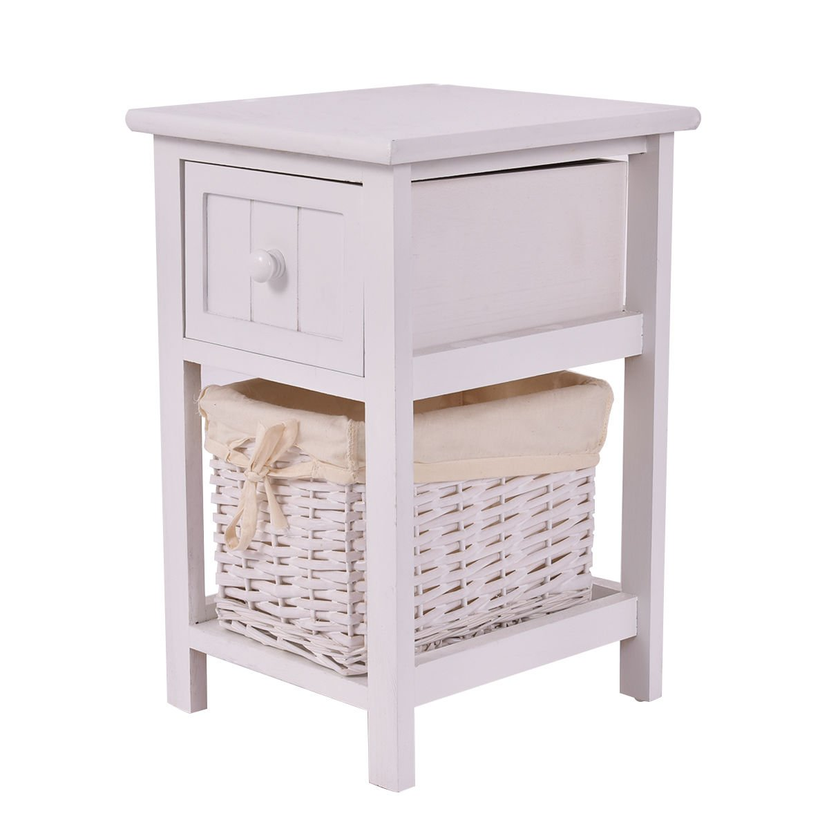 giantex mini wooden nightstand layers and basket eugene accent table drawer bedside organizer for kid adult bedroom end kitchen dining small white gloss console side lamps glass