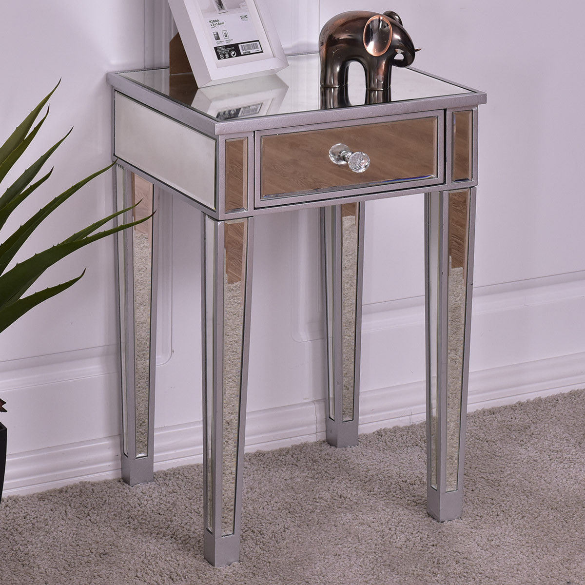 giantex mirrored accent table nightstand end luxury modern bedside storage cabinet with drawer coffee tables and cabinets from furniture blue white porcelain lamp valencia built