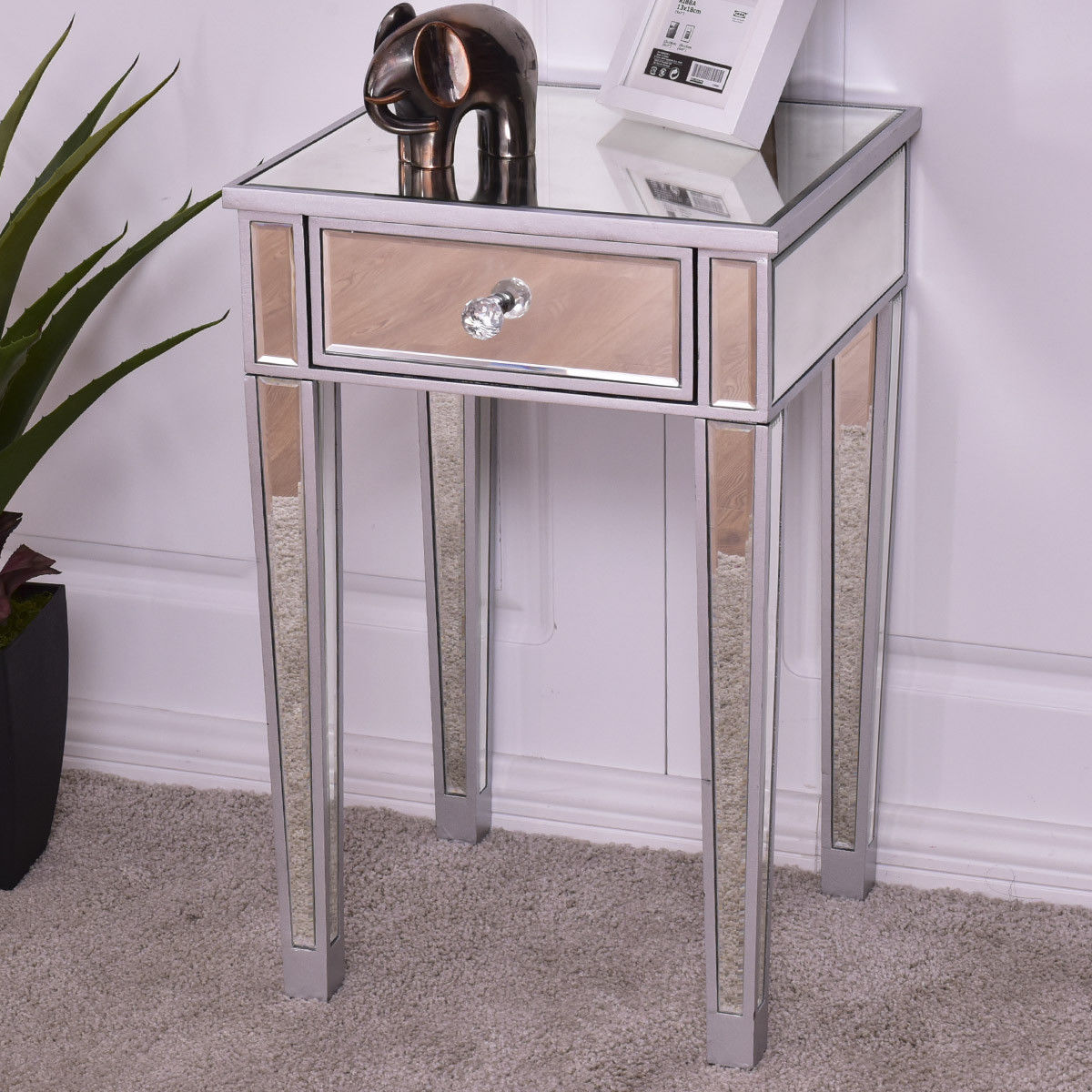 giantex mirrored accent table nightstand end luxury modern bedside storage cabinet with drawer coffee tables drawers black metal glass sofa silver hampton bay furniture covers