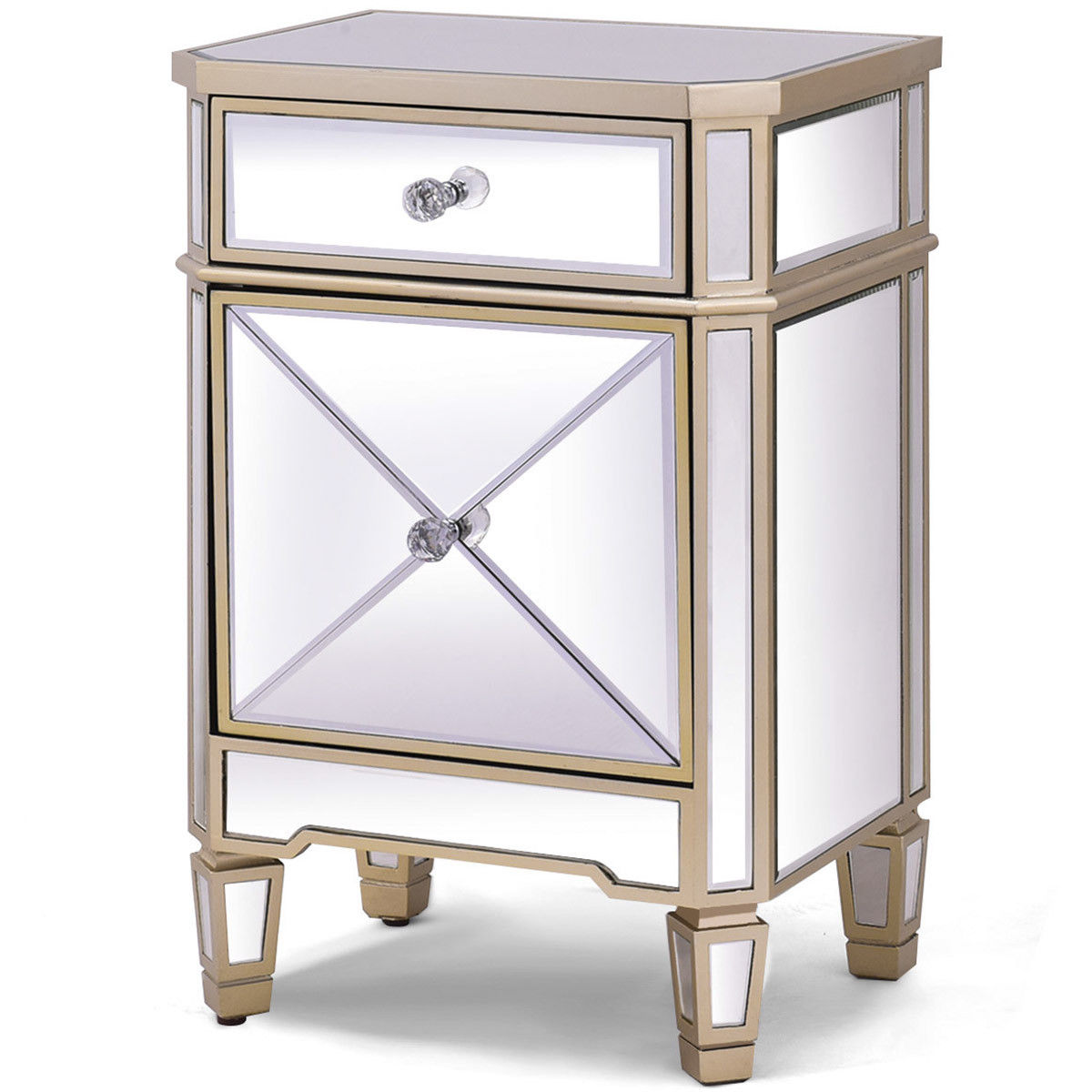 giantex modern mirrored nightstand bedroom storage accent cabinet beside table chest with drawer luxury home furniture night nightstands from pottery barn dining set console shoe