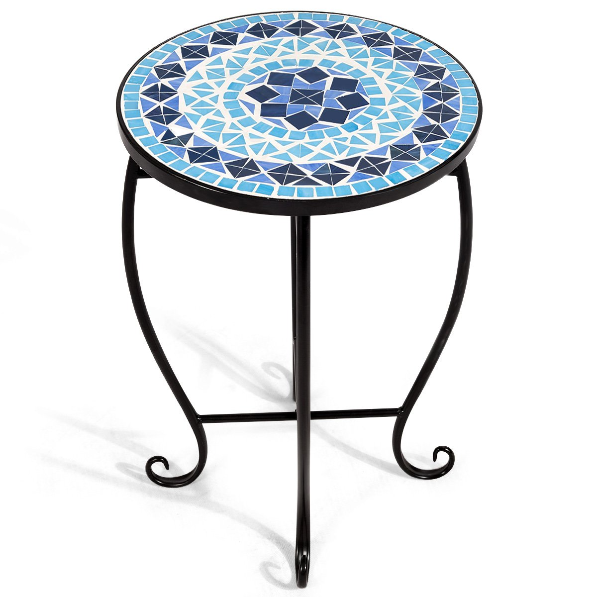 giantex mosaic round side accent table patio plant indoor stand porch beach theme balcony back deck pool decor metal cobalt glass top outdoor square umbrella grey coffee circular