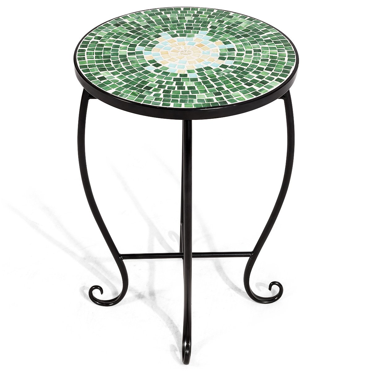 giantex mosaic round side accent table patio plant outdoor stone stand porch beach theme balcony back deck pool decor metal cobalt glass top indoor black lamp tables for living